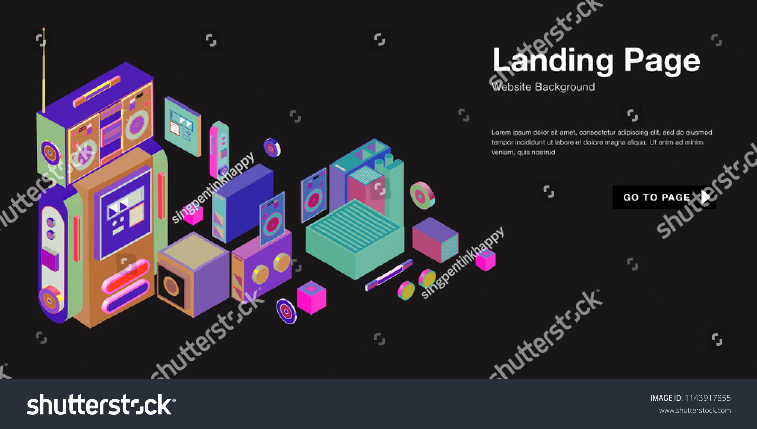 colorful isometric 3 d website background template stock vector