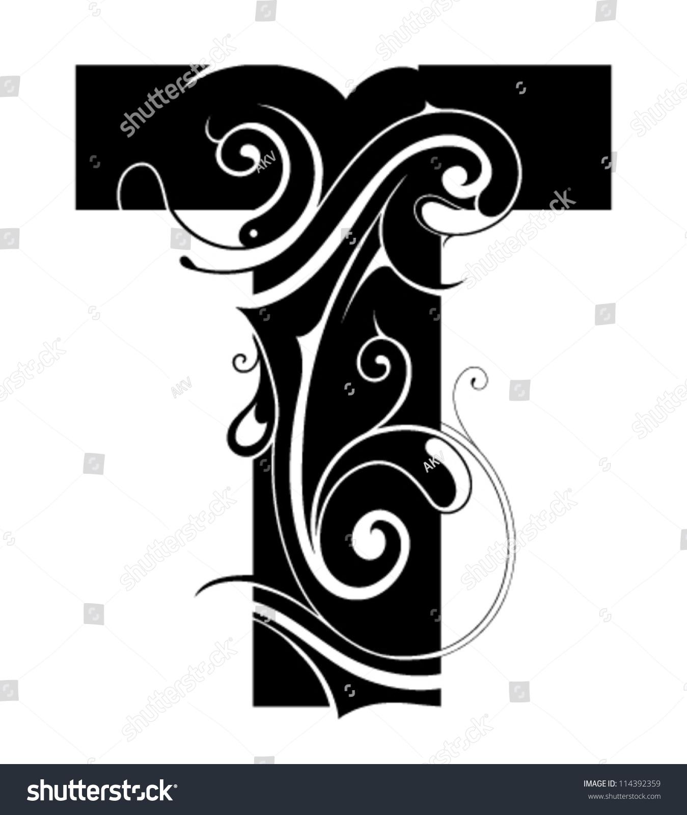 decorative letter shape font type t stock vector 114392359