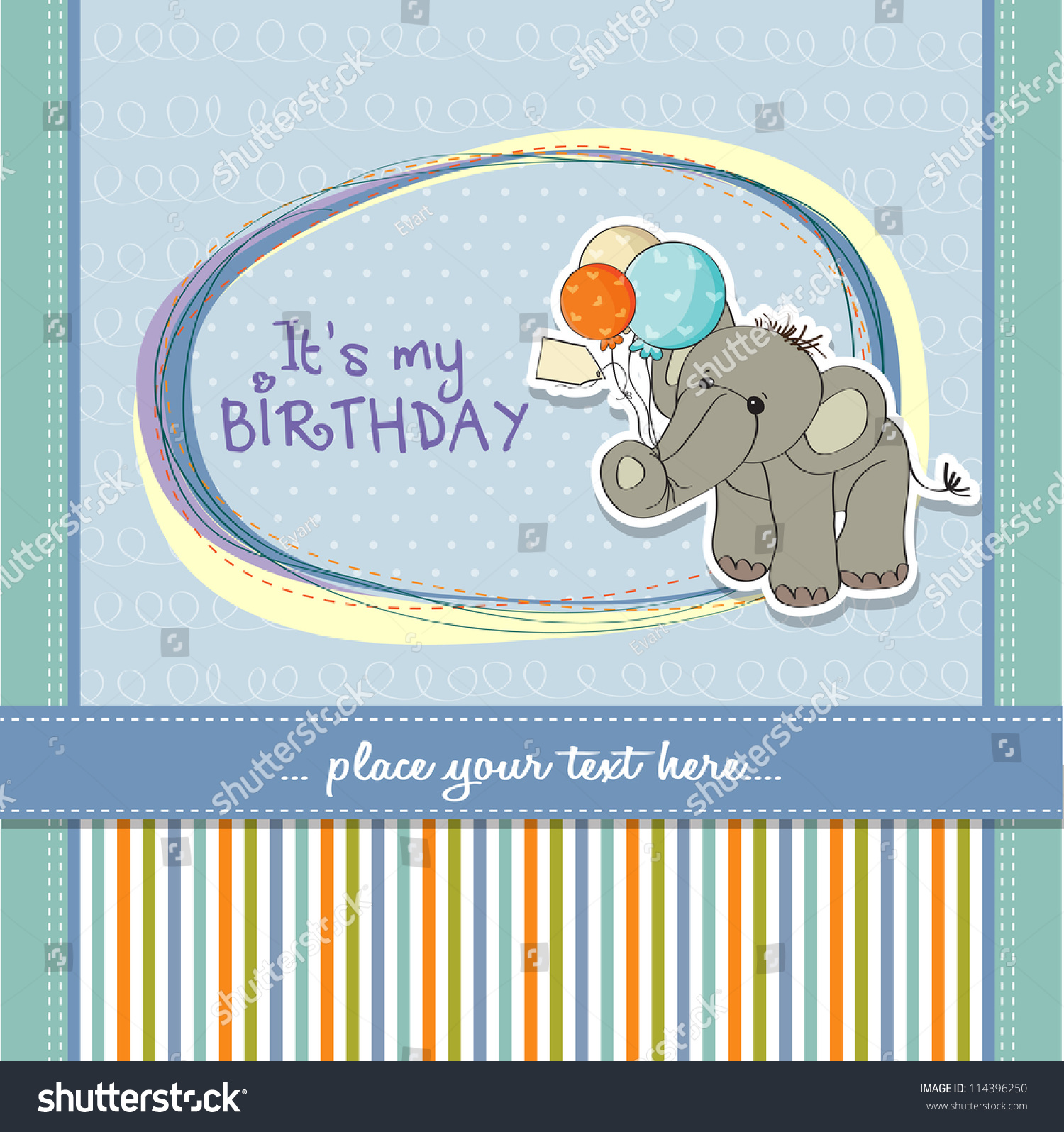Baby Boy Birthday Card Elephant Balloons Stock Vector