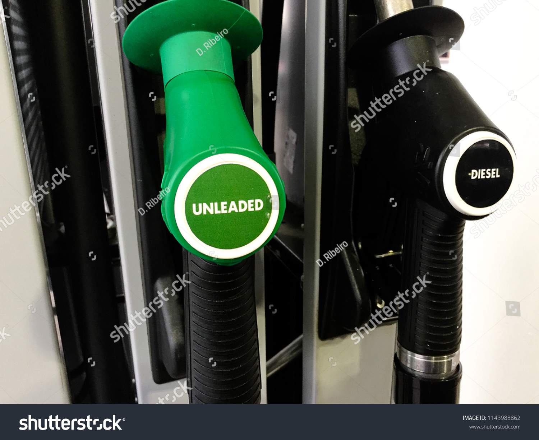 Close Unleaded Diesel Fuel Nozzles Service Stock Photo Edit Now