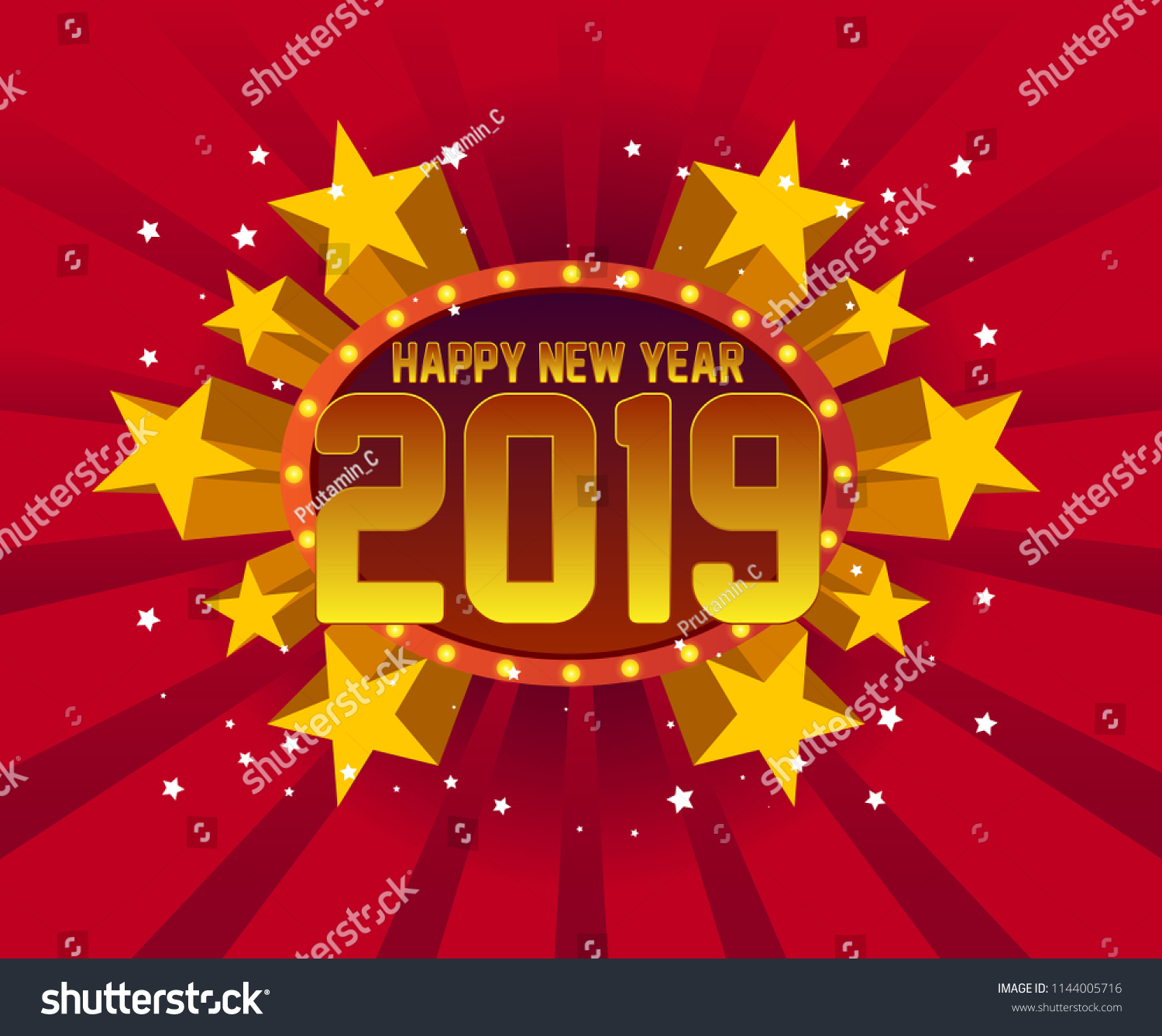 happy new year 2019 beautiful greeting card background or banner with star party theme