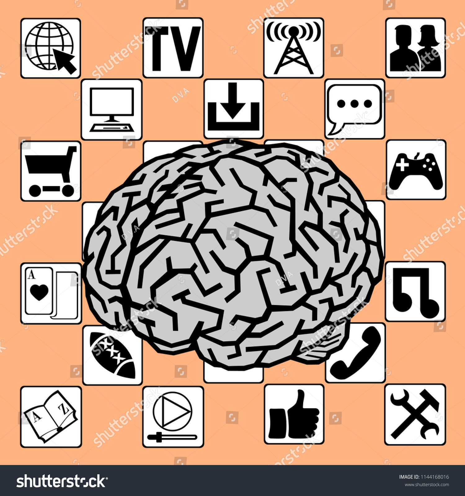 Illustration About Impact Information On Brain Stock Vector Royalty