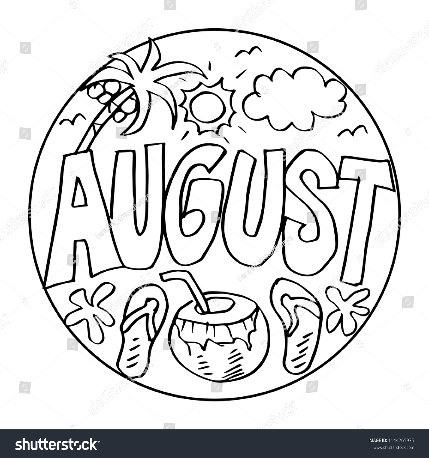 August Coloring Pages Kids Stock Image Download Now