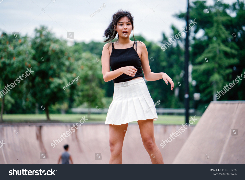 Very asian teen girls skirt