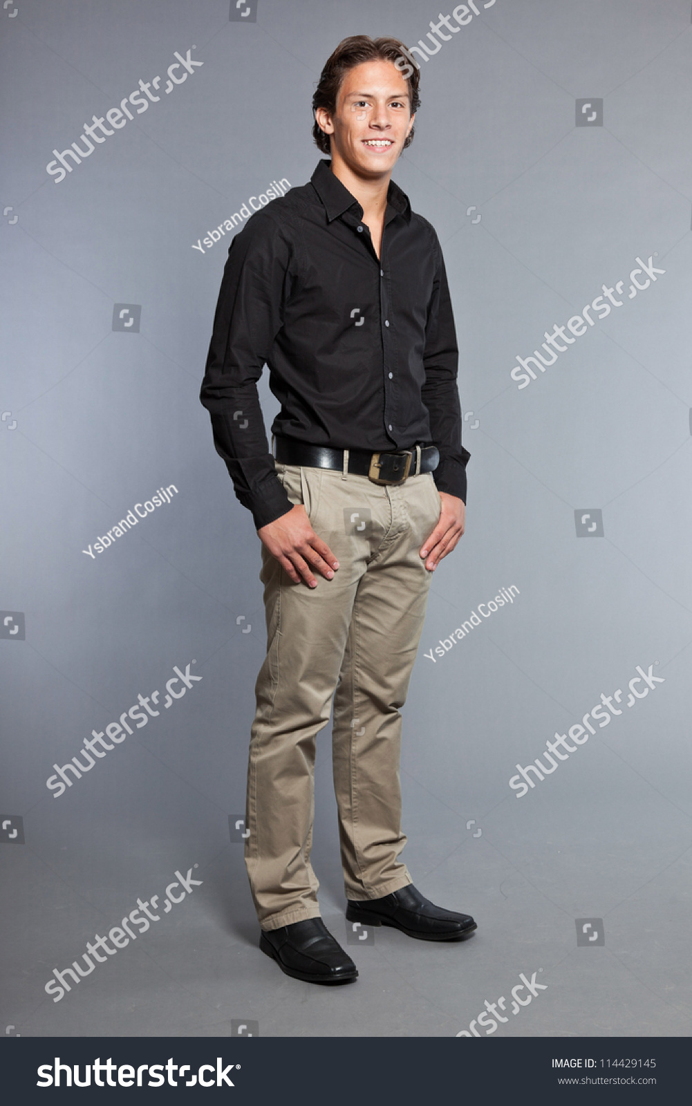 Brown Shirt With Black Pants
