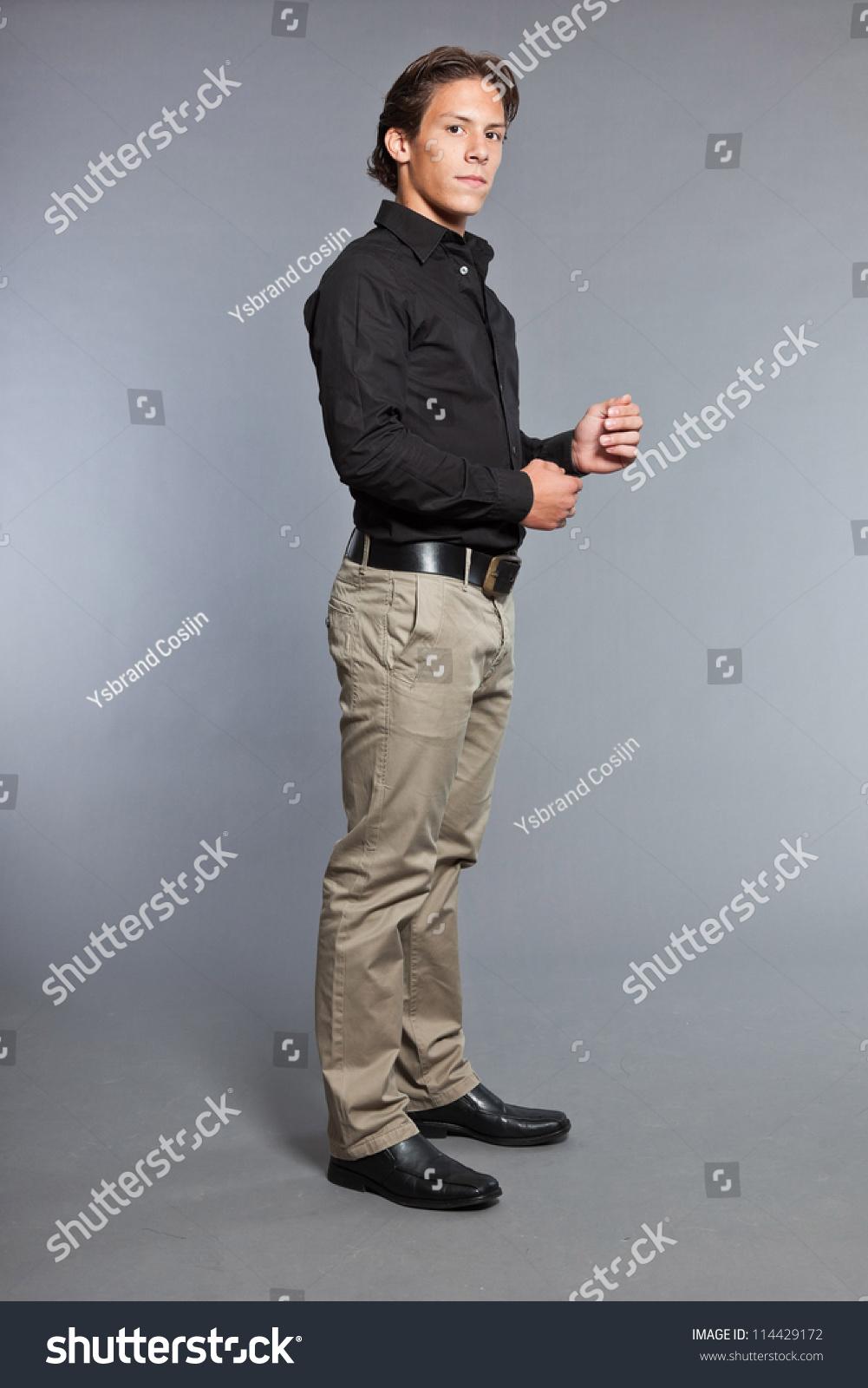Black Blazer Black Shirt Grey Pants Ficts