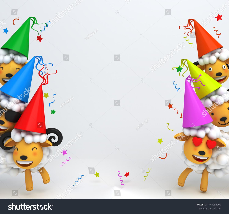 Cute Cartoon Sheep Smile Wearing Colorful Stock Illustration ...
