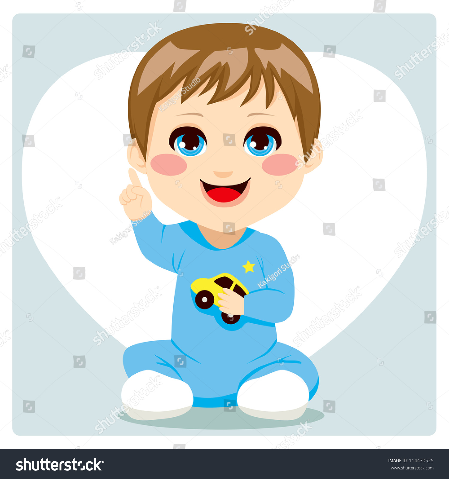 Cute Smart Little Baby Boy Pointing Stock Vector 114430525 ... Cute Baby Pointing Finger