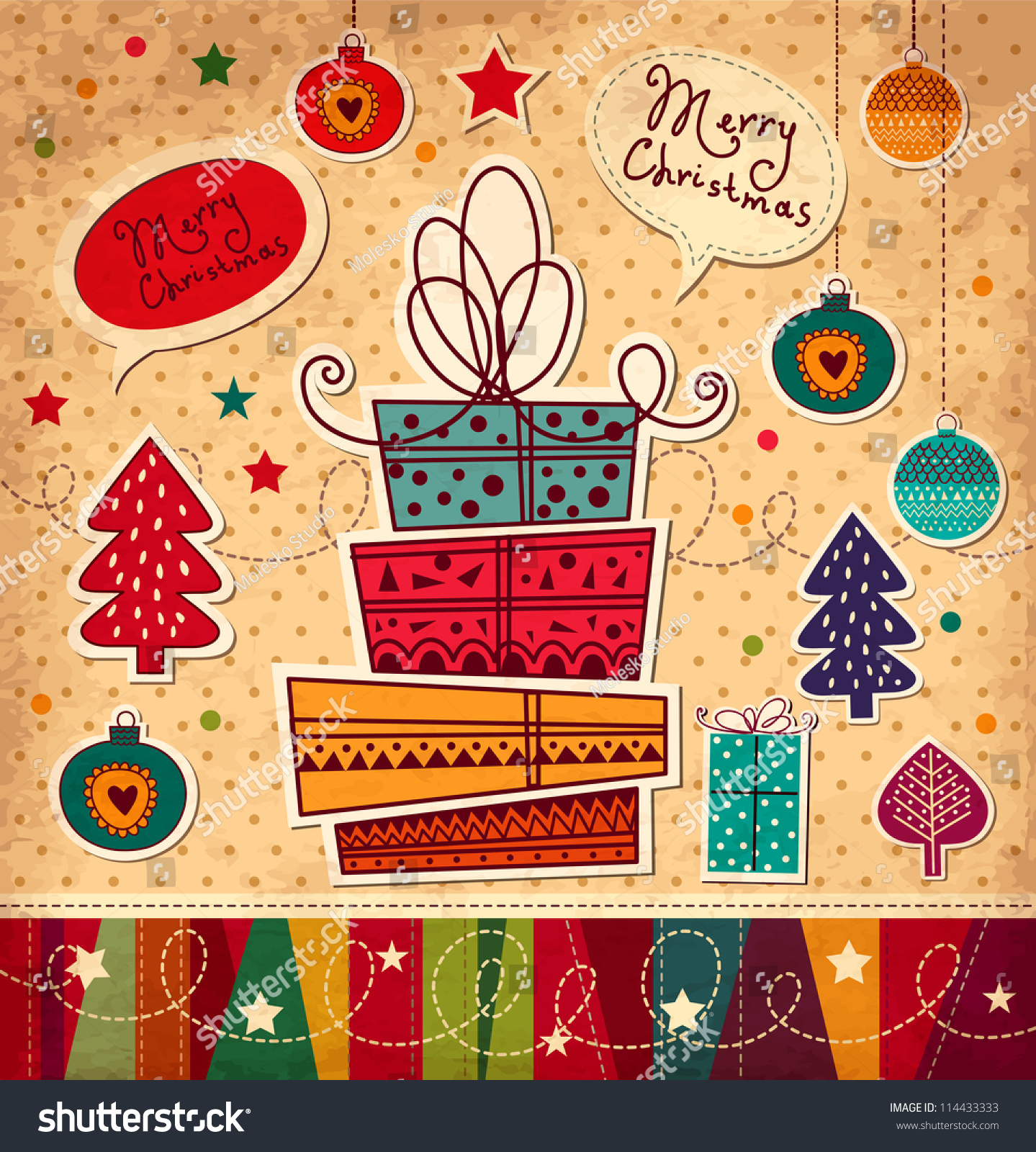 Vintage Christmas Card Gift Boxes Stock Vector (Royalty Free ...