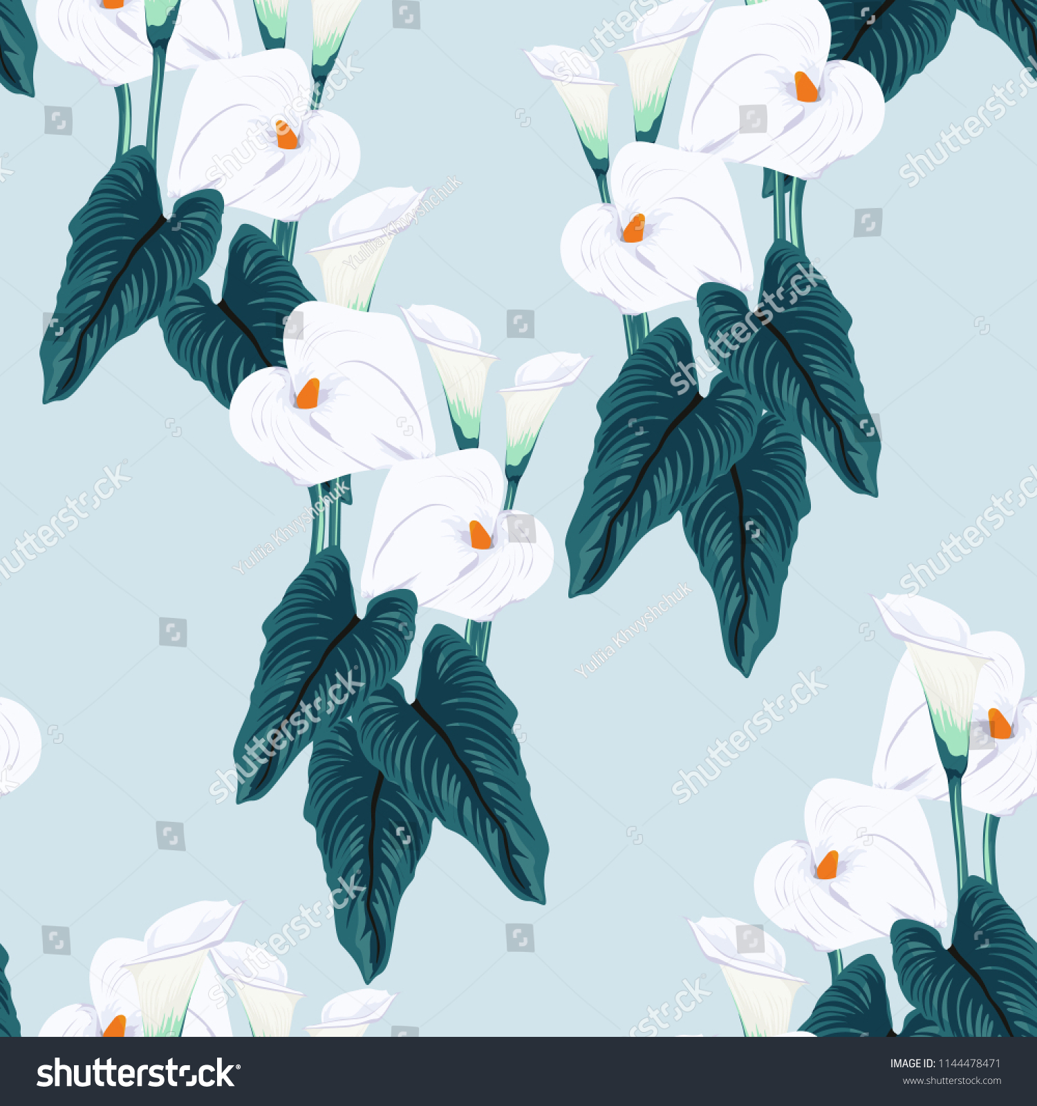 Seamless Blue Calla Lilies Flower Background Stock Vector Royalty