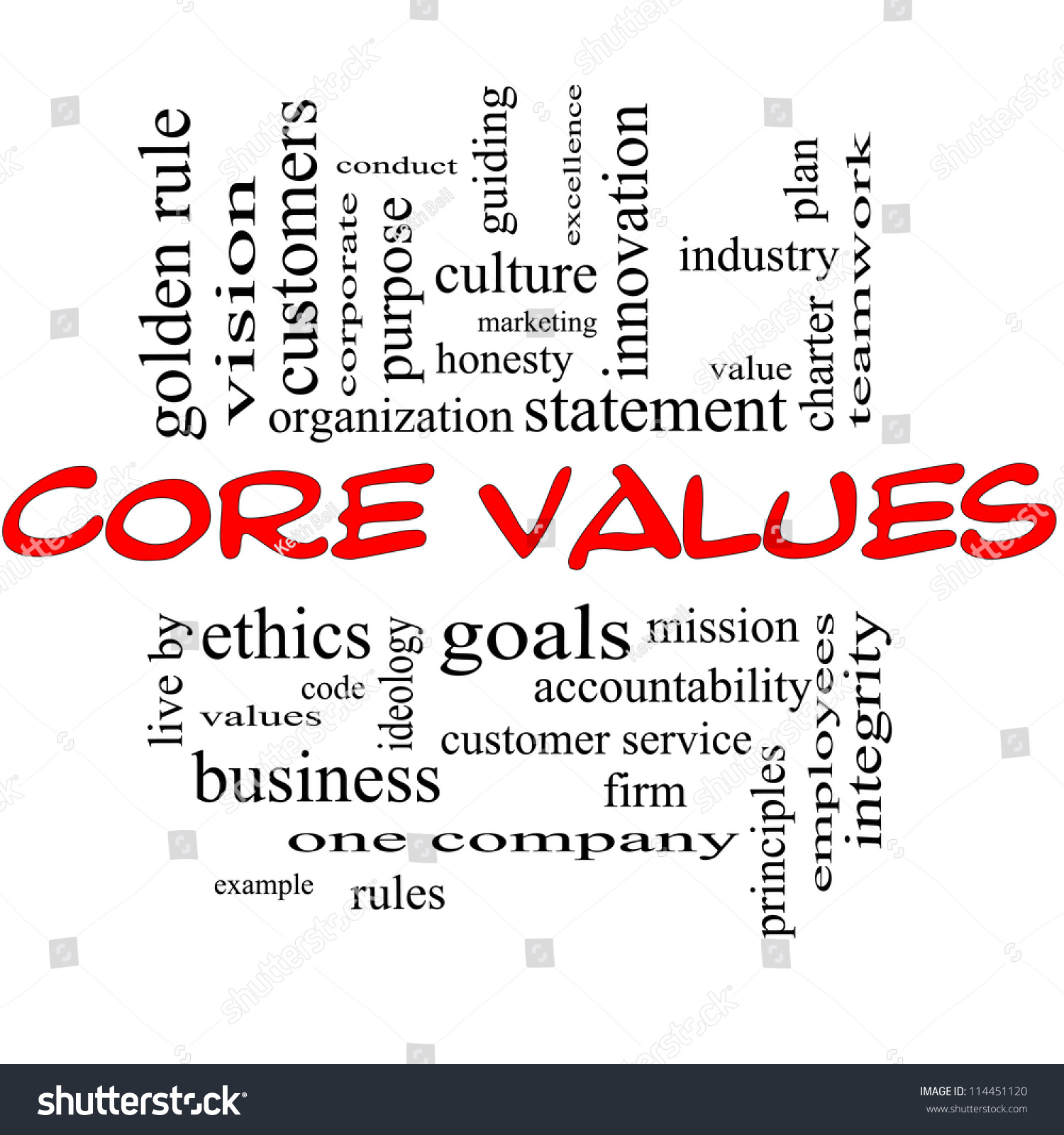 Core Values Word Cloud Concept Red Stock Illustration