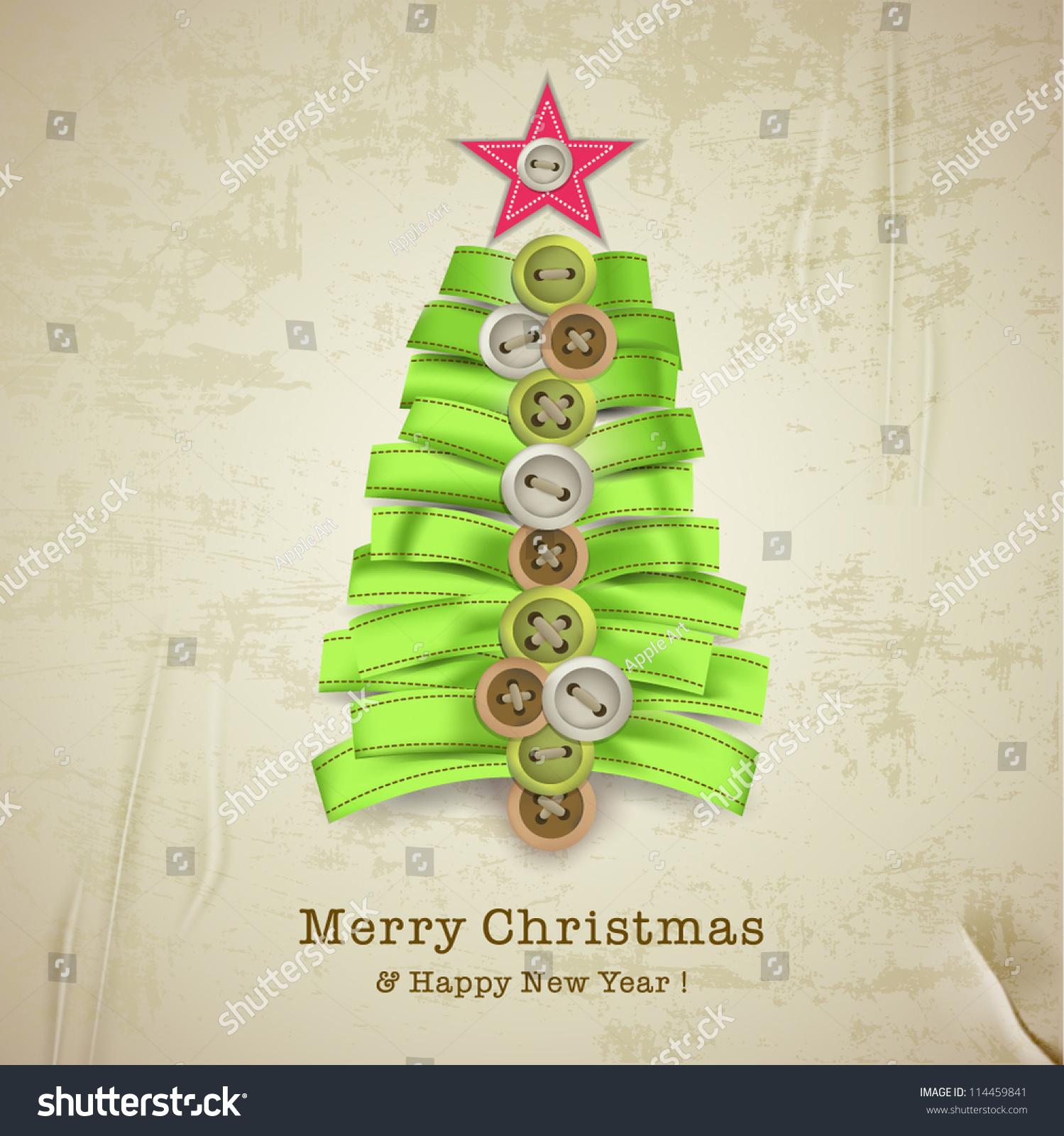 Christmas Card Creative Christmas Tree Made Stock Vector Royalty