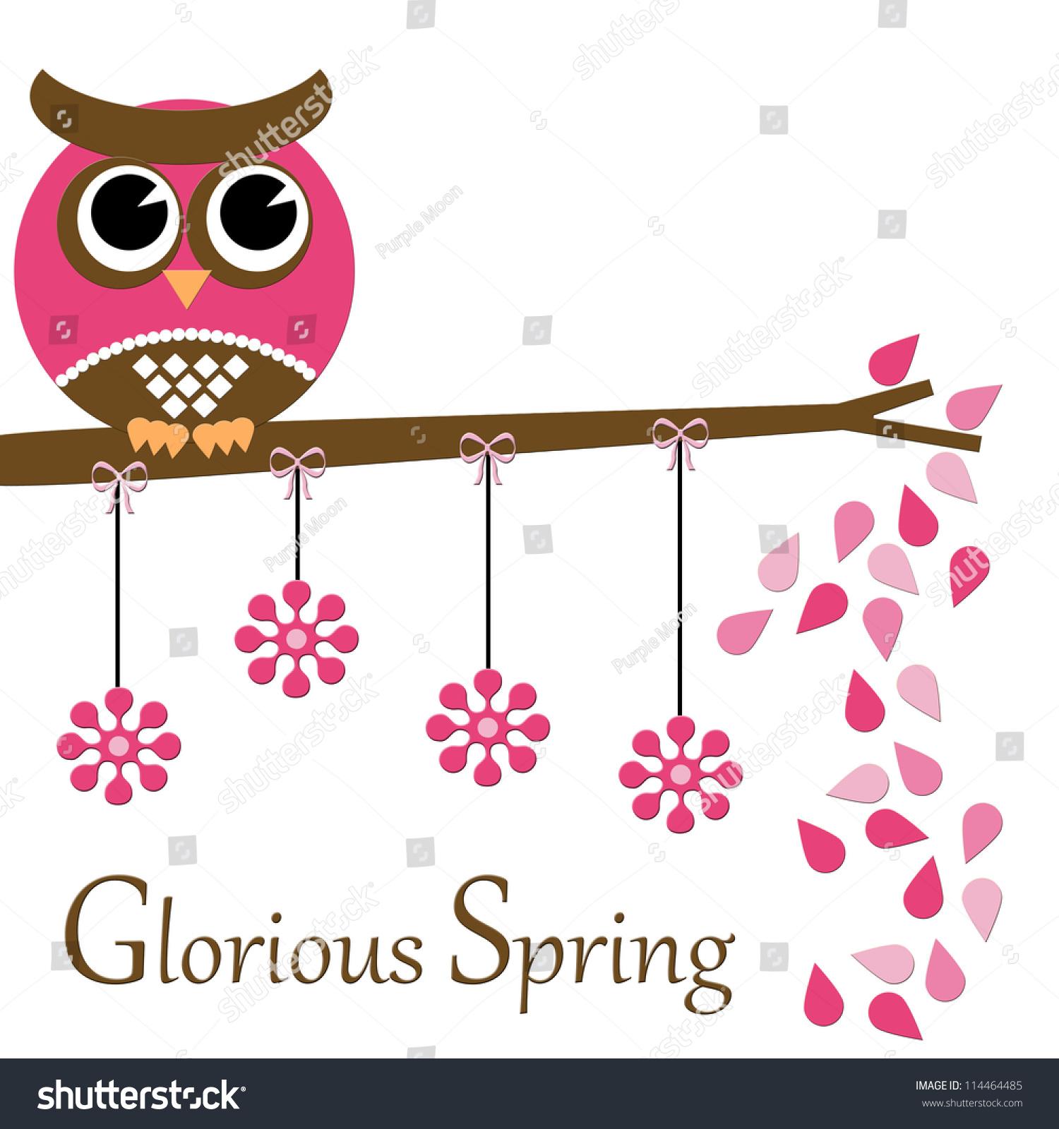Glorious Spring Pink Owl Series Stock Illustration ...