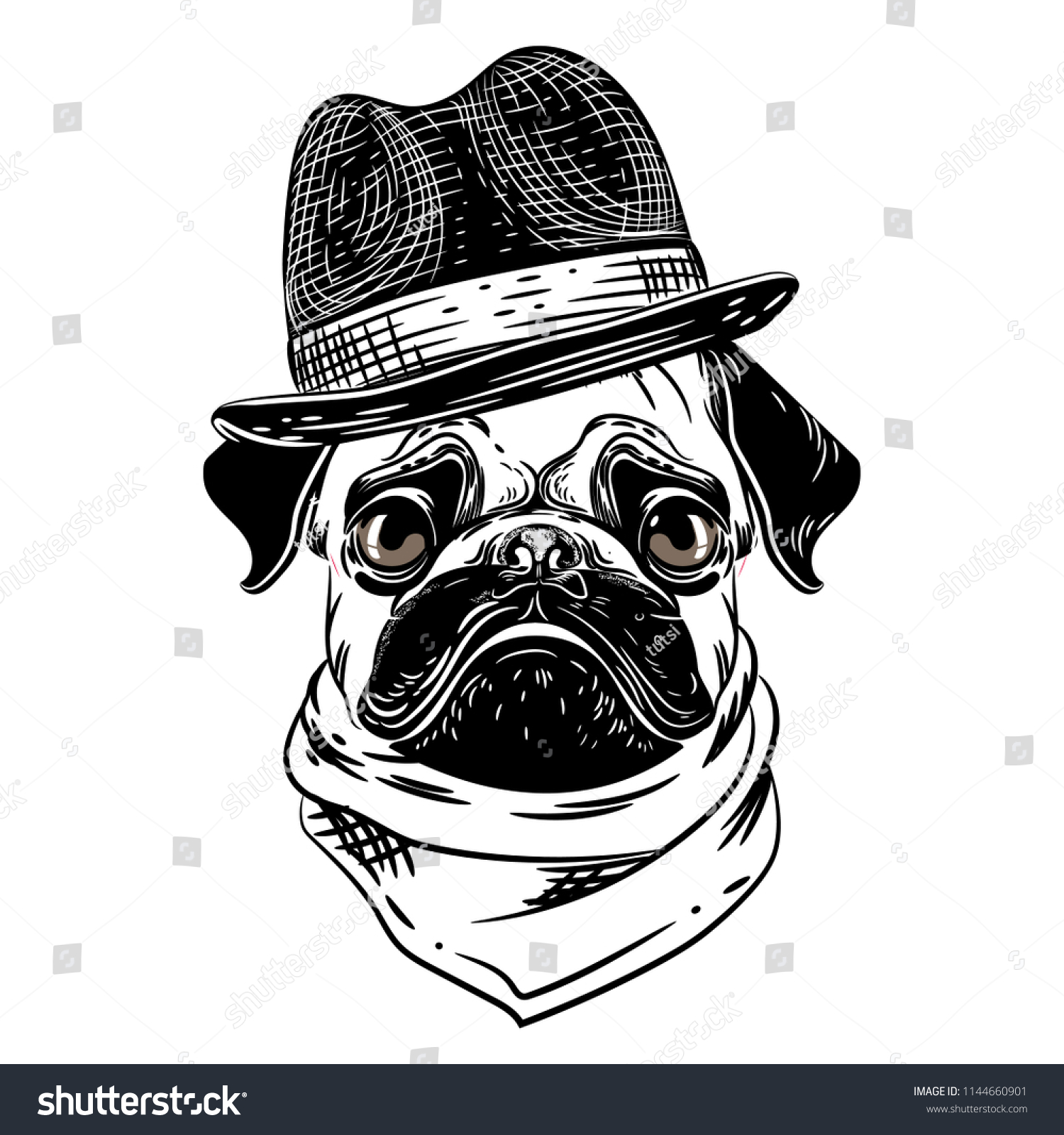 Vector Image Pug Hat Scarf T Stock Vector (Royalty Free) 1144660901 ... 3e08dc3b892