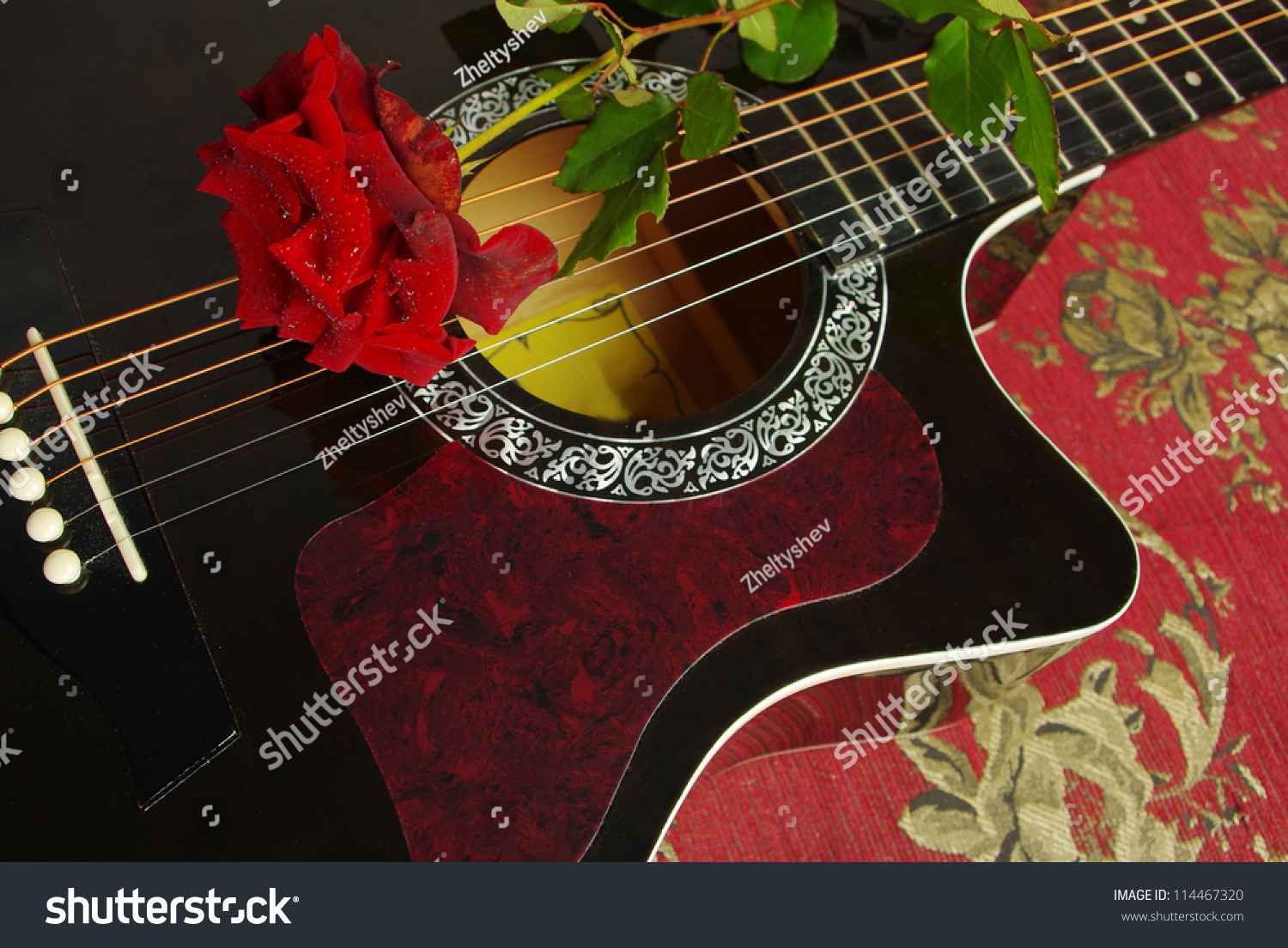 Red Rose On Black Acoustic Guitar Stock Photo Edit Now 114467320