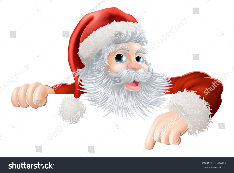 cartoon illustration santa claus pointing down stock vector