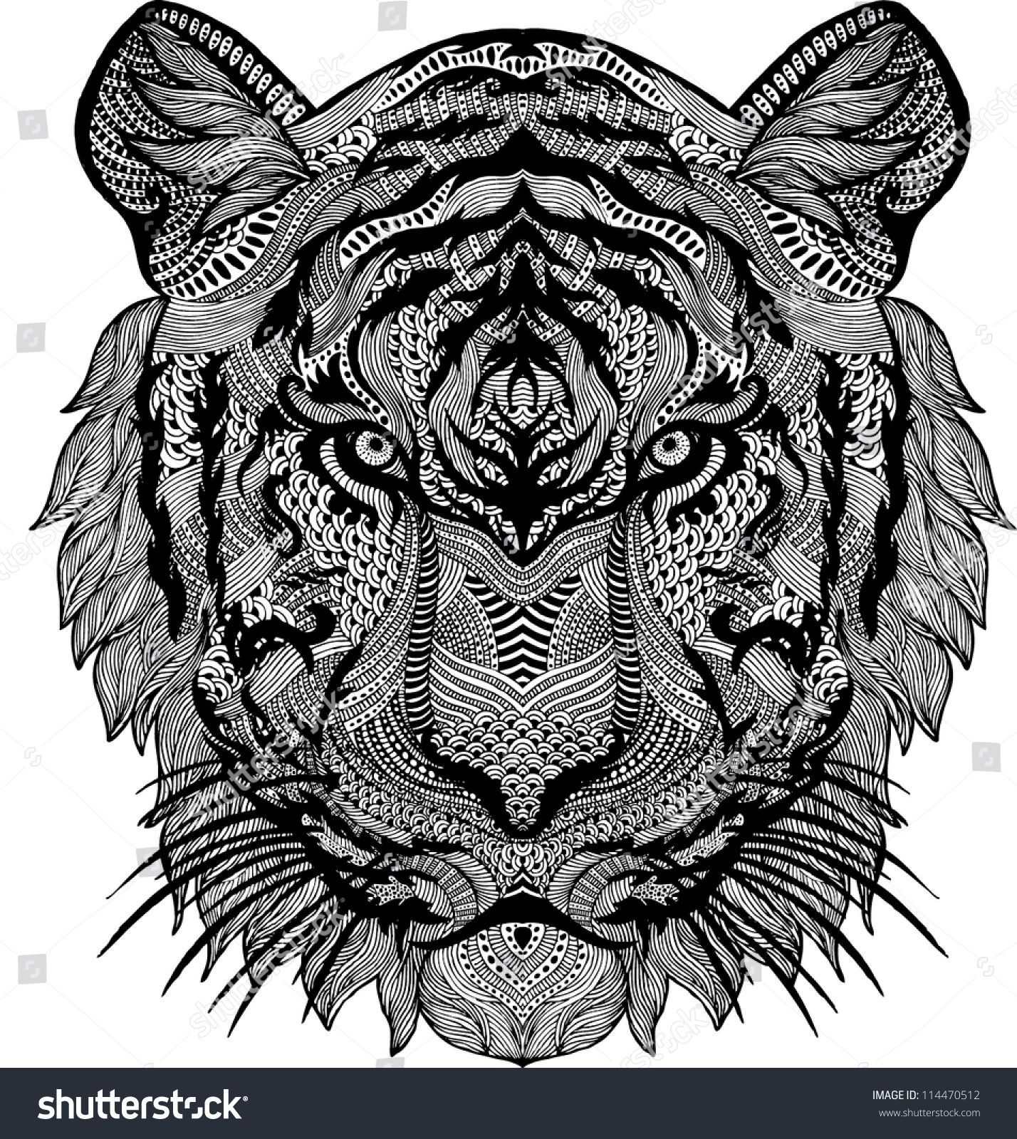 Psychedelic tiger tattoo - photo#10