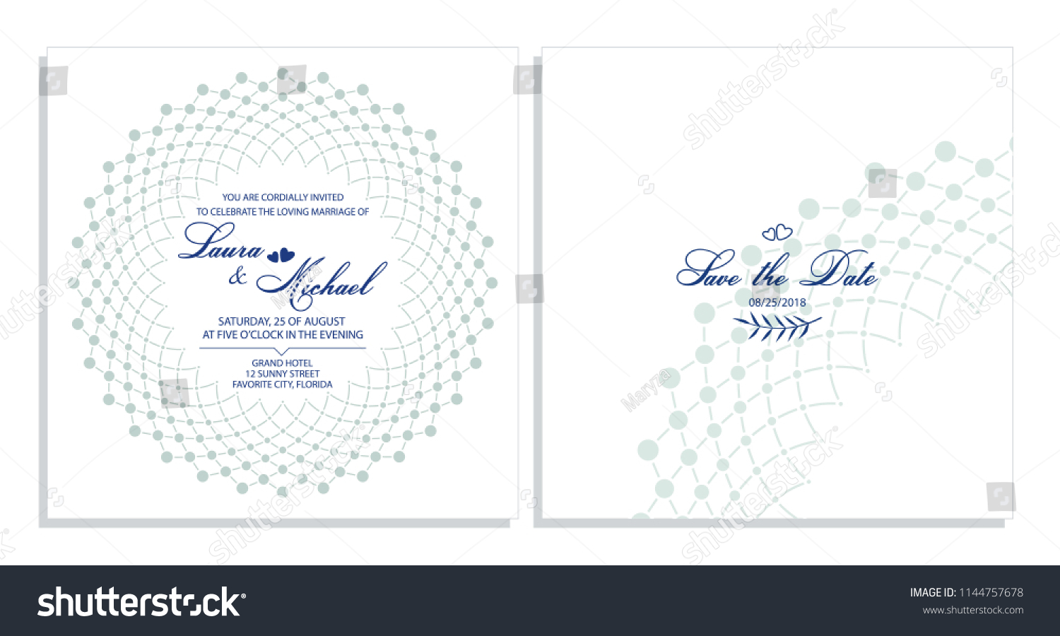 wedding invitation card template for the invitation delicate background of dots and lines