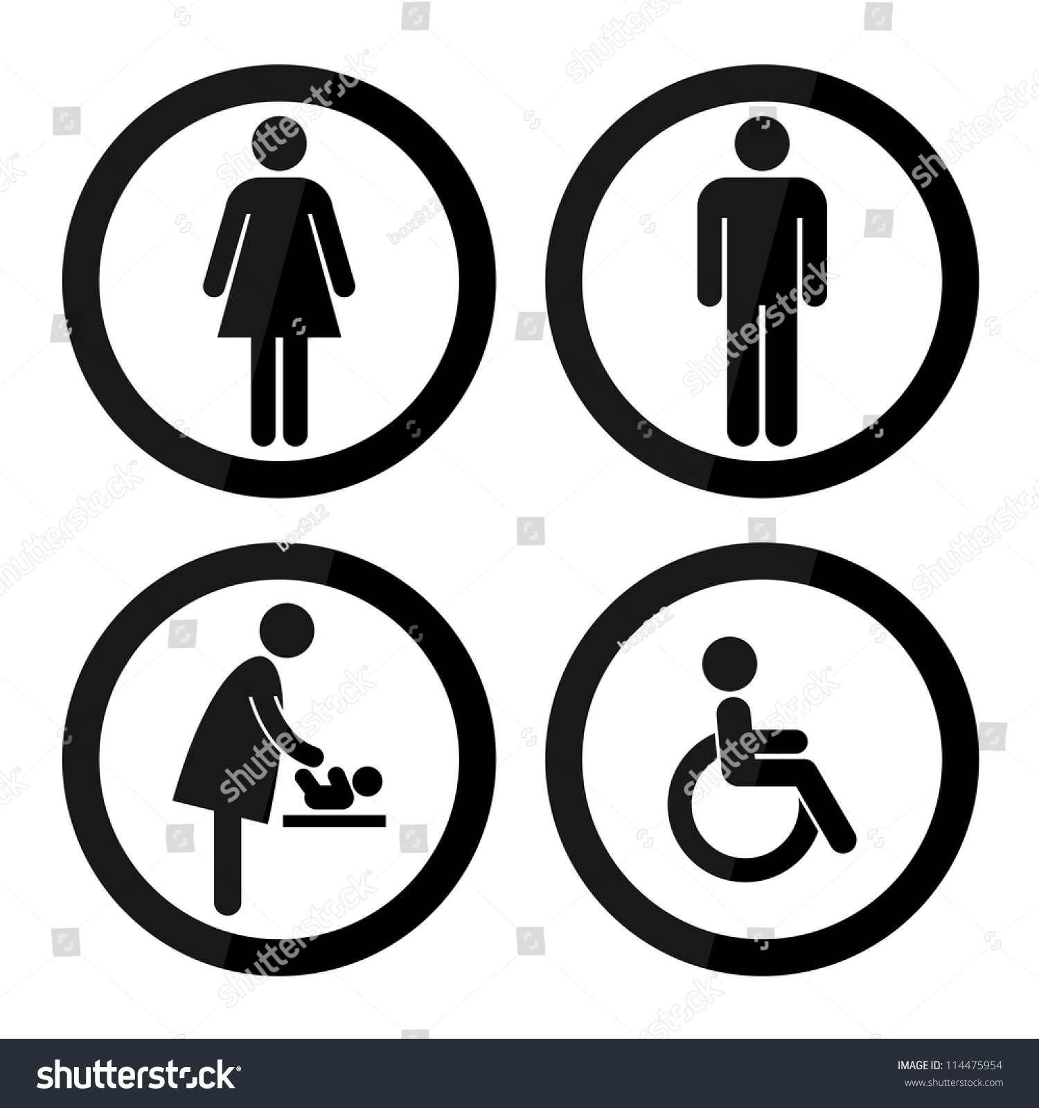 Black Circle Toilet Sign With Border Man Women Baby