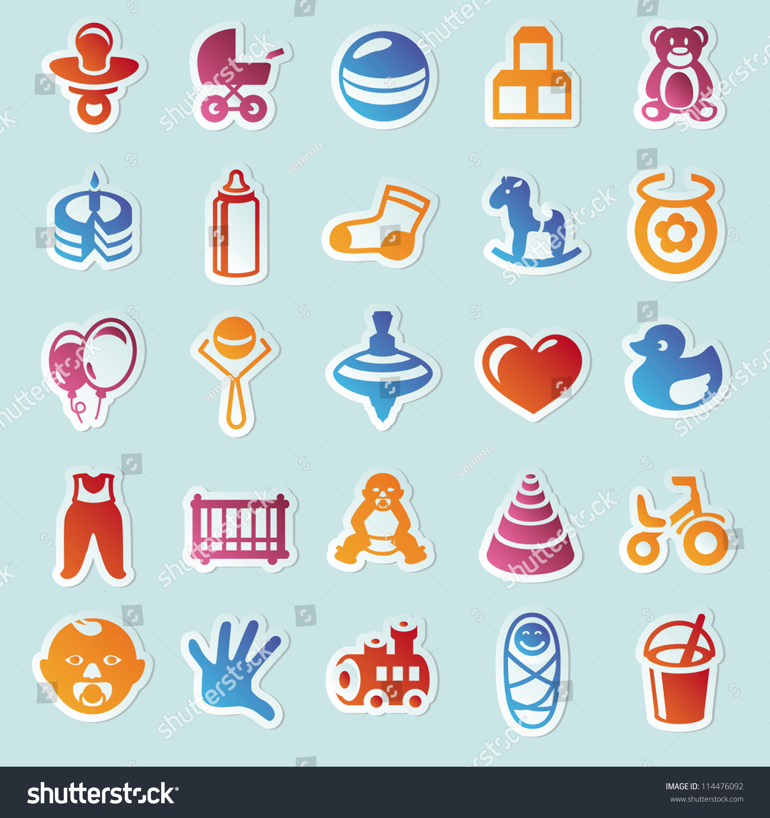 Set Vector Stickers Kids Toys Design Stock Vector