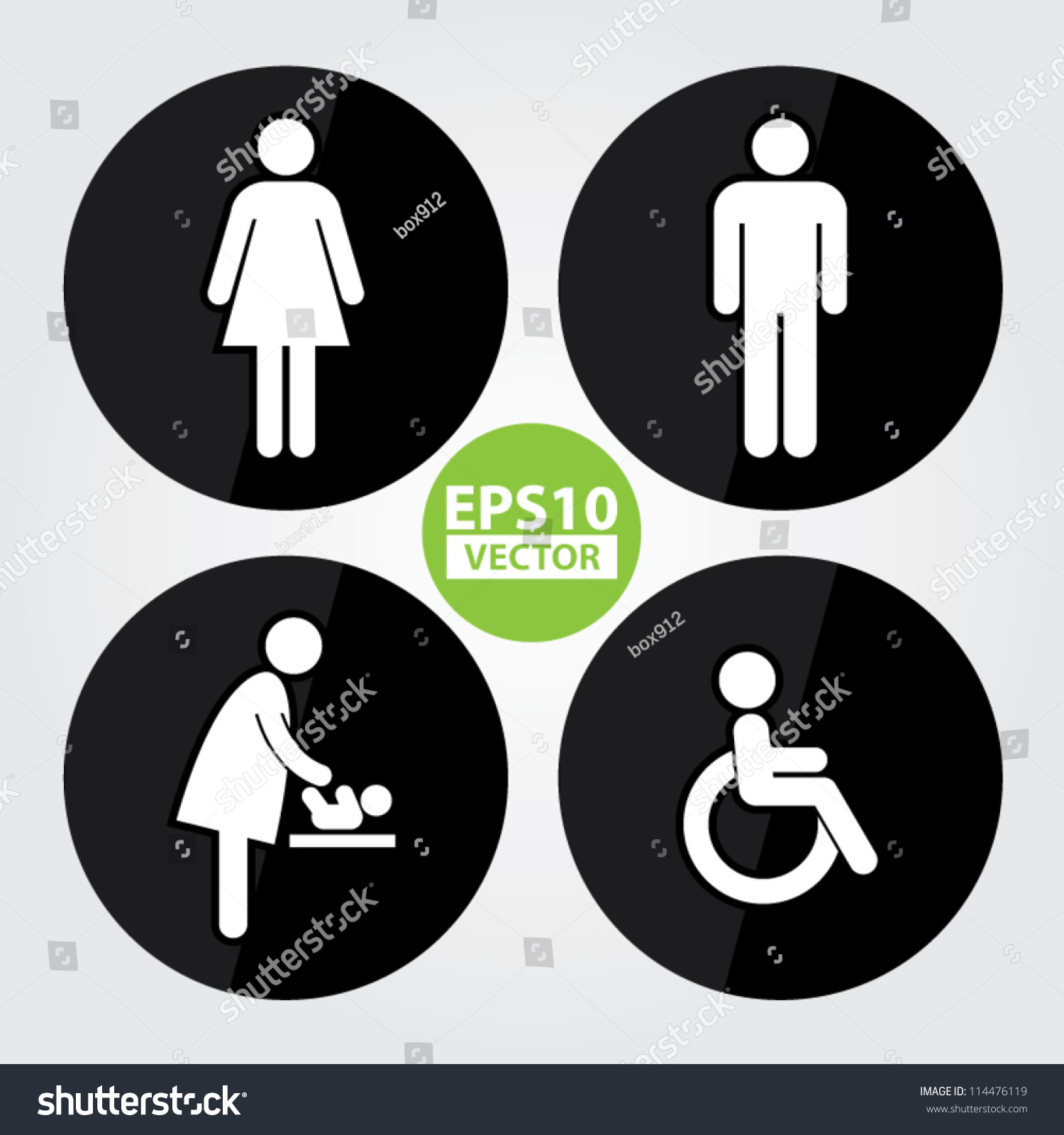 Black Circle Toilet Sign With Background Man Women Baby