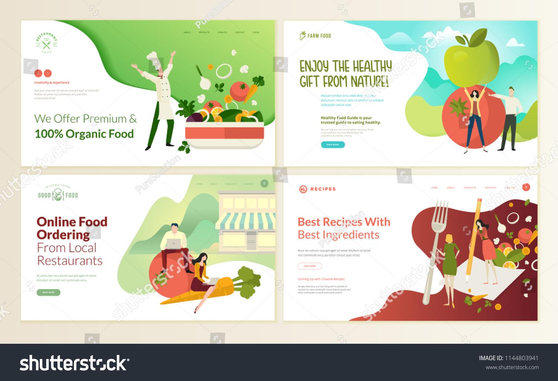 set web page design templates organic のベクター画像素材