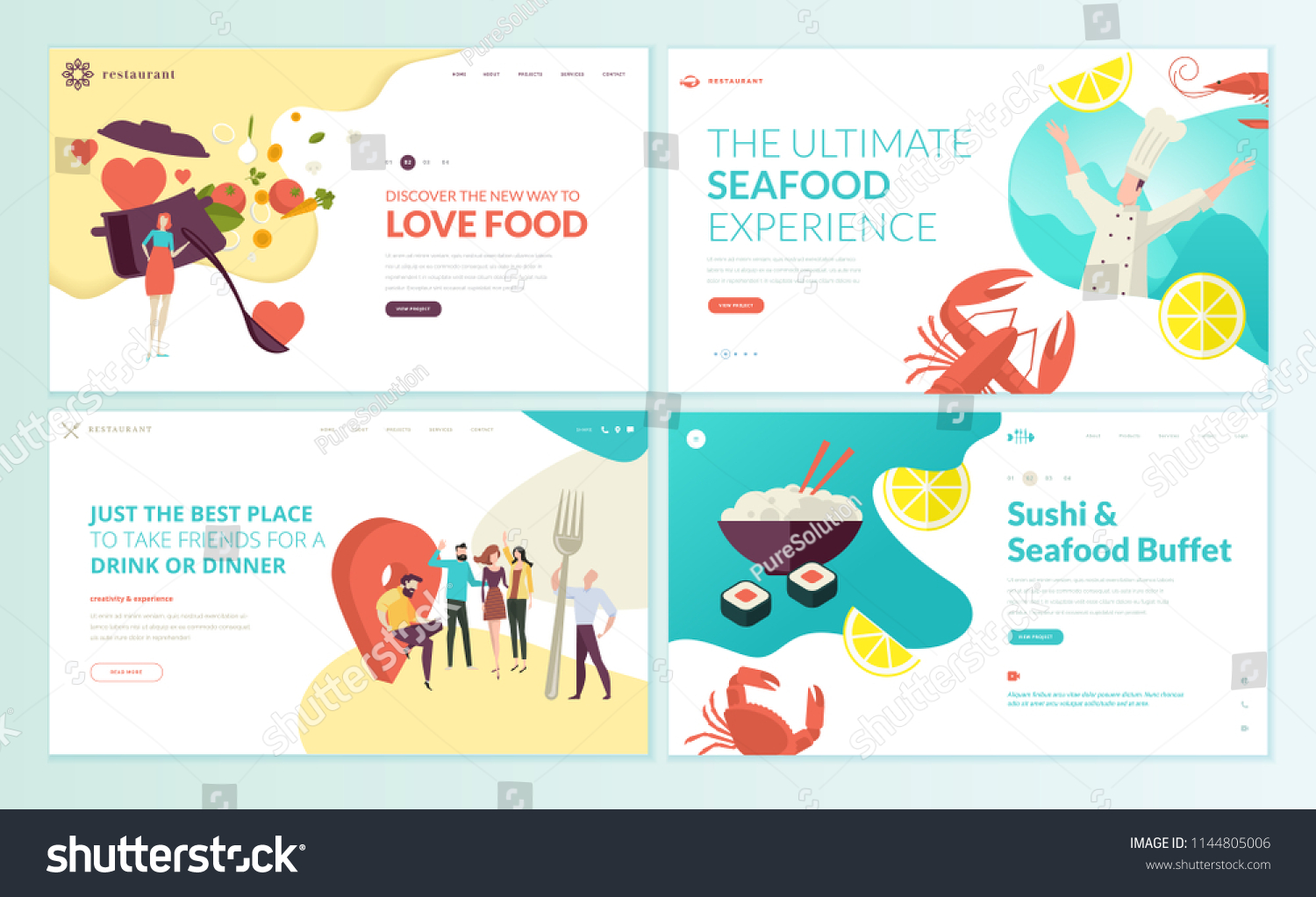 Set Web Page Design Templates Restaurant Stock Vector Royalty Free