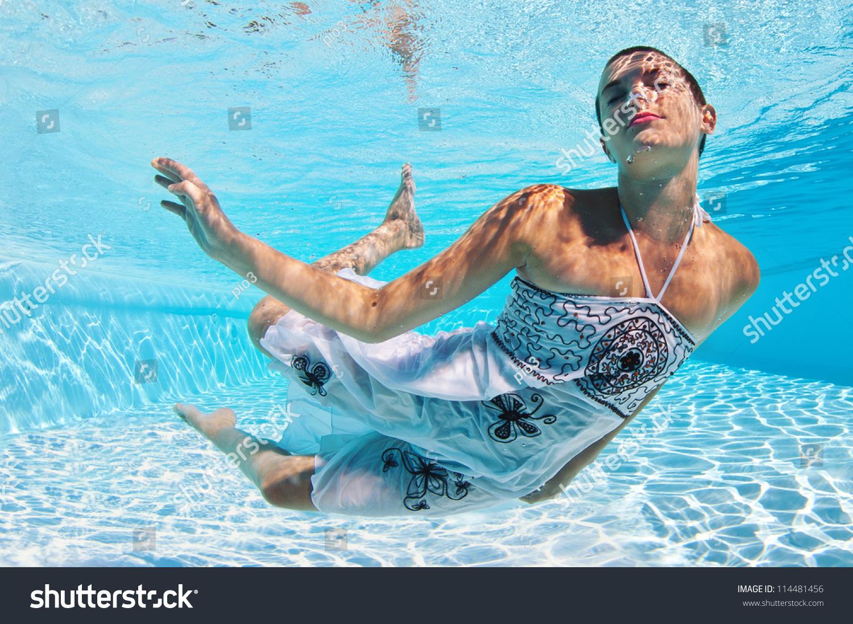 Underwater Woman Fashion Portrait White Dress Stock Photo