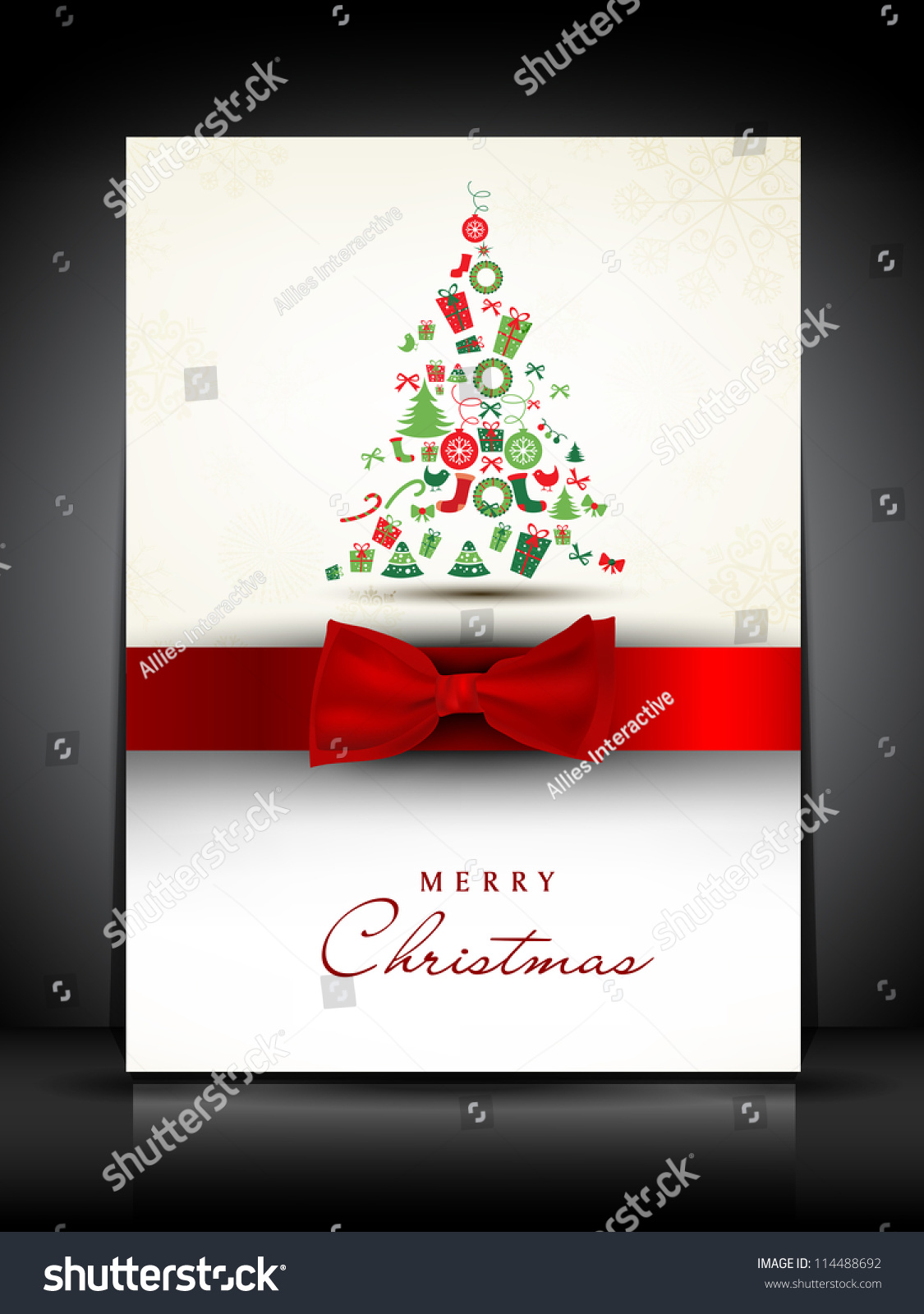 Merry christmas greeting card gift card stock vector 114488692 merry christmas greeting card or gift card decorated with xmas tree and red ribbon eps kristyandbryce Image collections