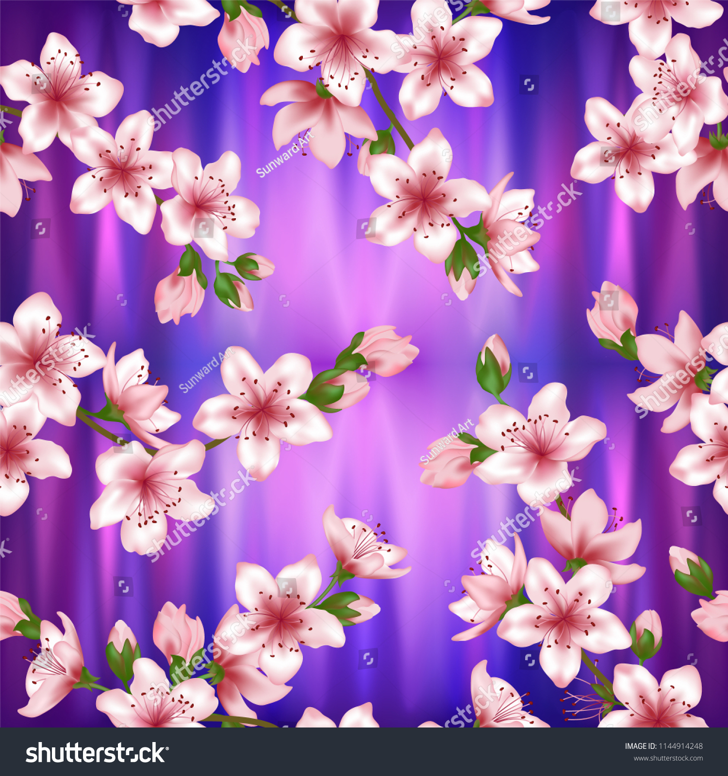 Japanese Cherry Blossom Sakura Branches Vector Stock Vector Royalty Free 1144914248