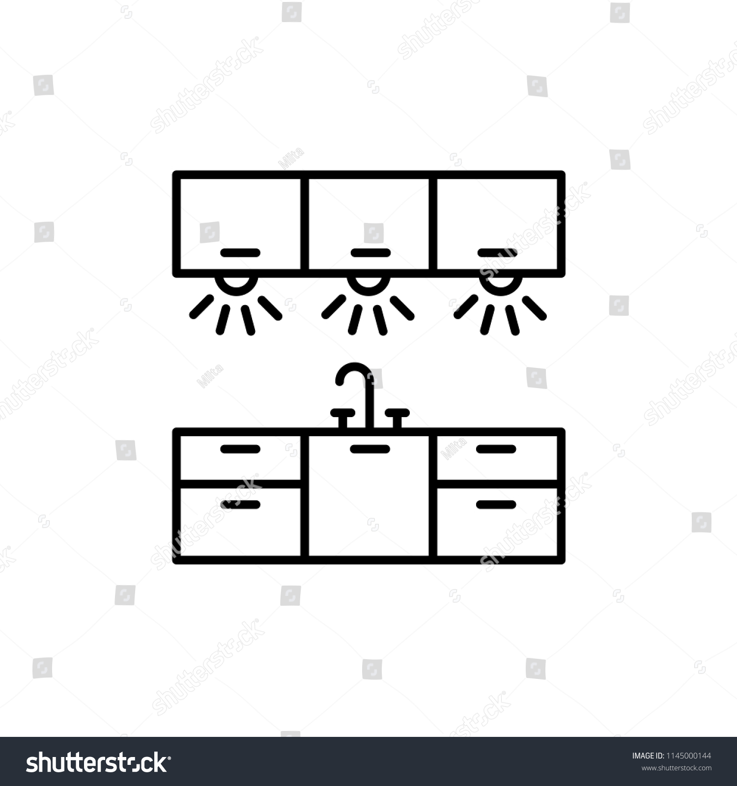 Vector Illustration Cabinet Lighting Line Icon Stock Royalty Diagram For Kitchen Of Workspace Light Isolated Object On