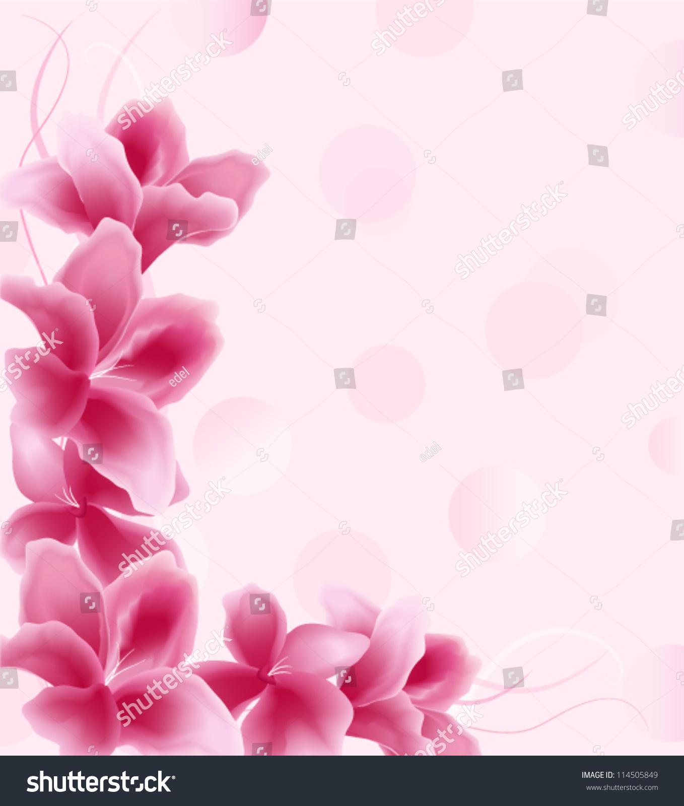 Pink Floral Background Wedding Card Image Vectorielle De Stock