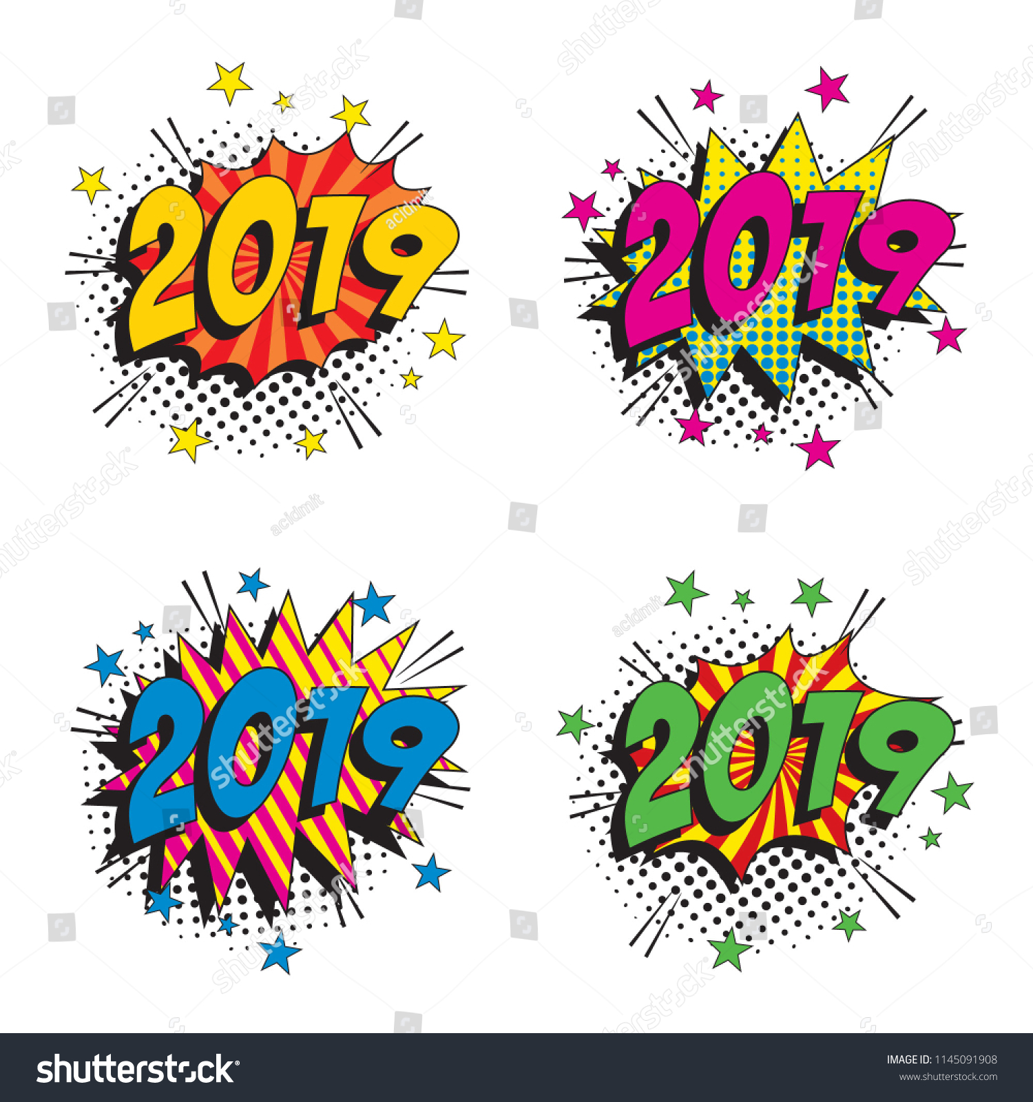 set happy new year vector pop stock vector royalty free 1145091908