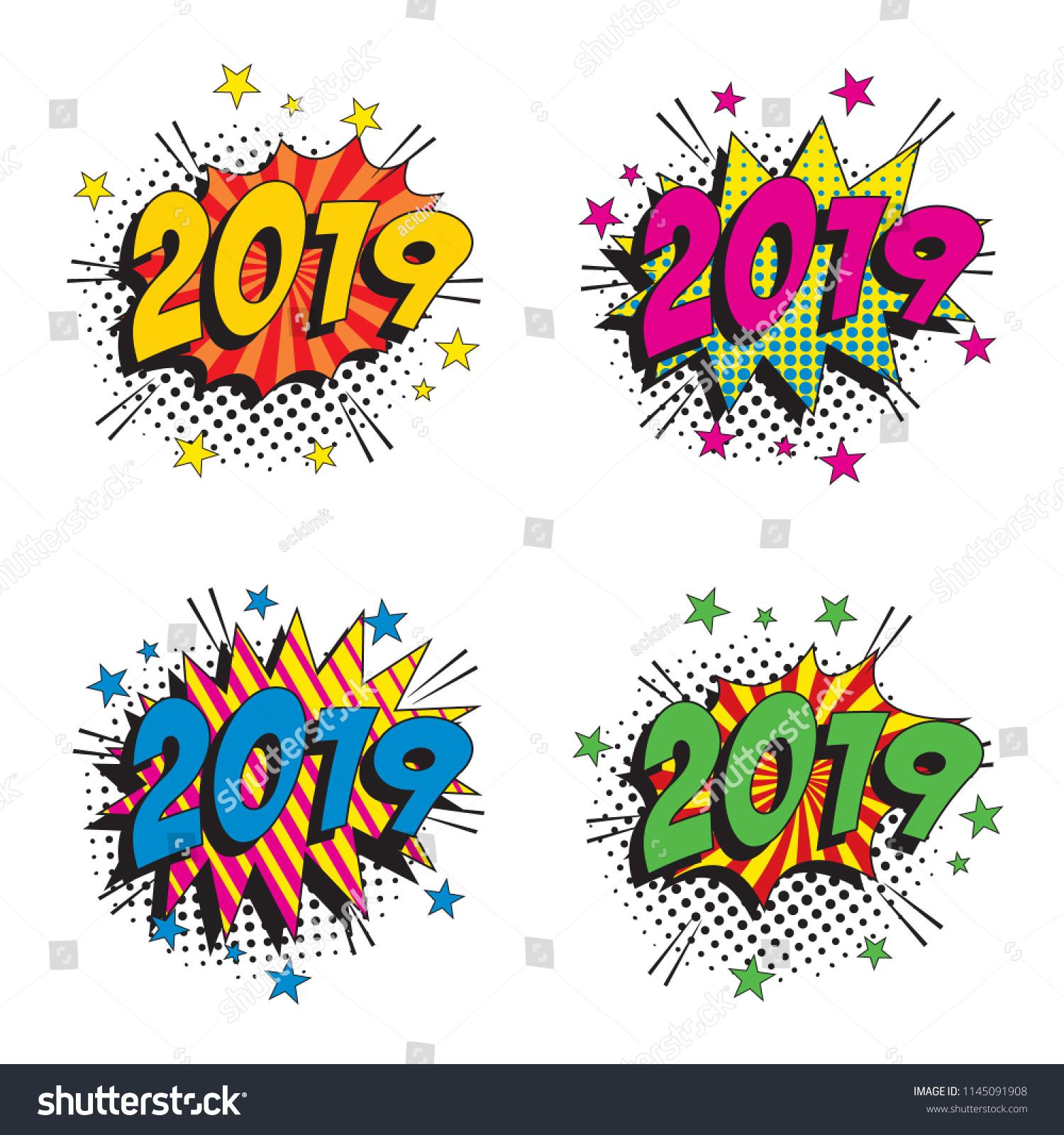 set happy new year vector pop stock vector royalty free 1145091908