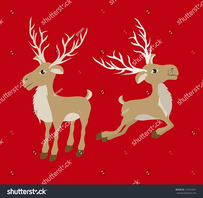 Christmas Reindeer Illustration On Red Background Stock ...