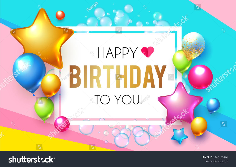 Happy Birthday Celebration Greeting Invitation Card Stock Vector