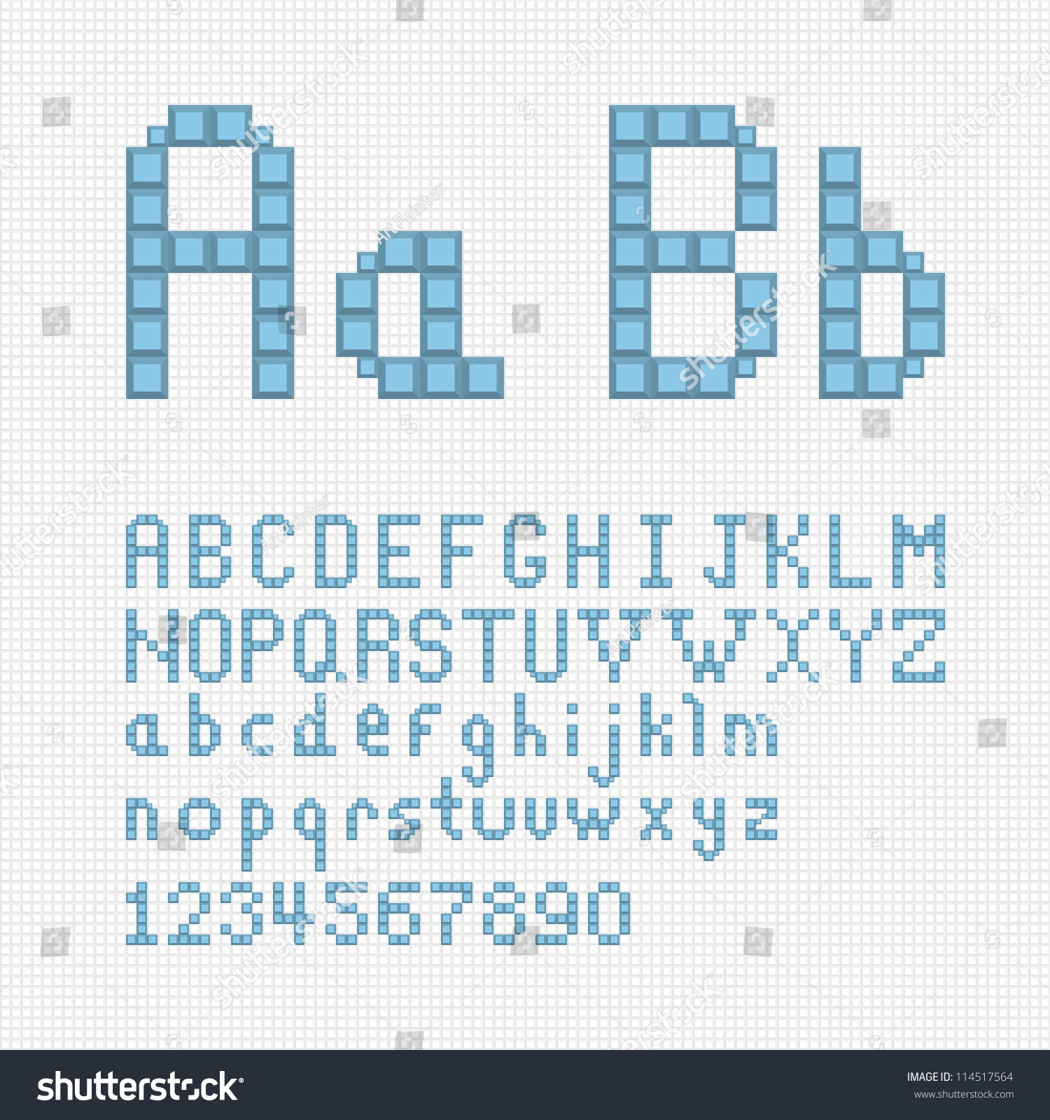 Vector Alphabet Set Pixel Art Style Stock Vector 114517564