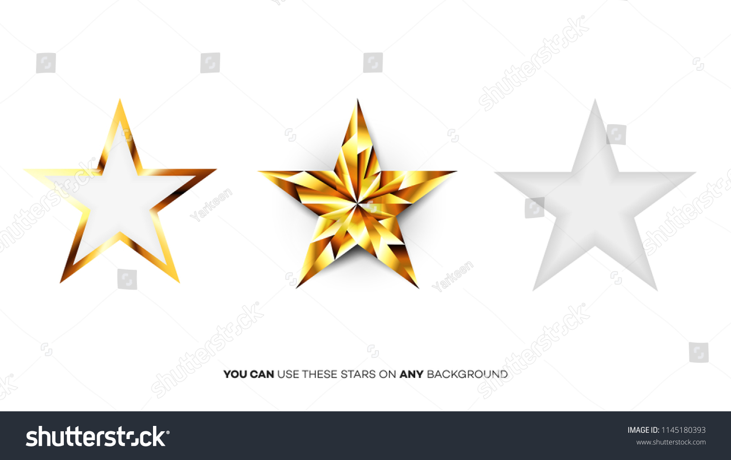 Vector Perfect Glossy Golden Stars Template For Christmas Award Or Five Rating Design