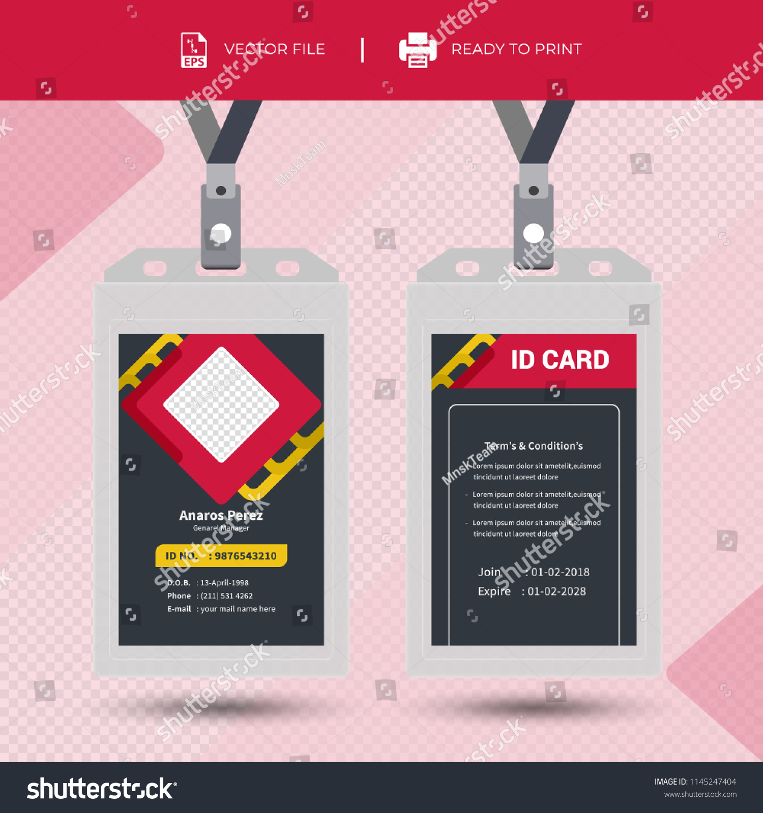 creative simple id card design vector stock vector royalty free