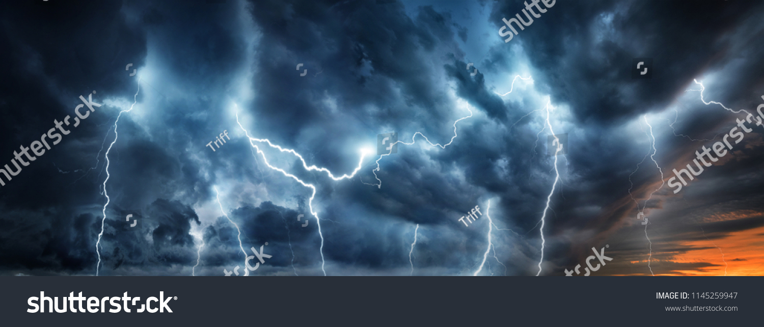 Lightning thunderstorm flash over the night sky. Concept on topic weather, cataclysms (hurricane, Typhoon, tornado, storm)  #1145259947