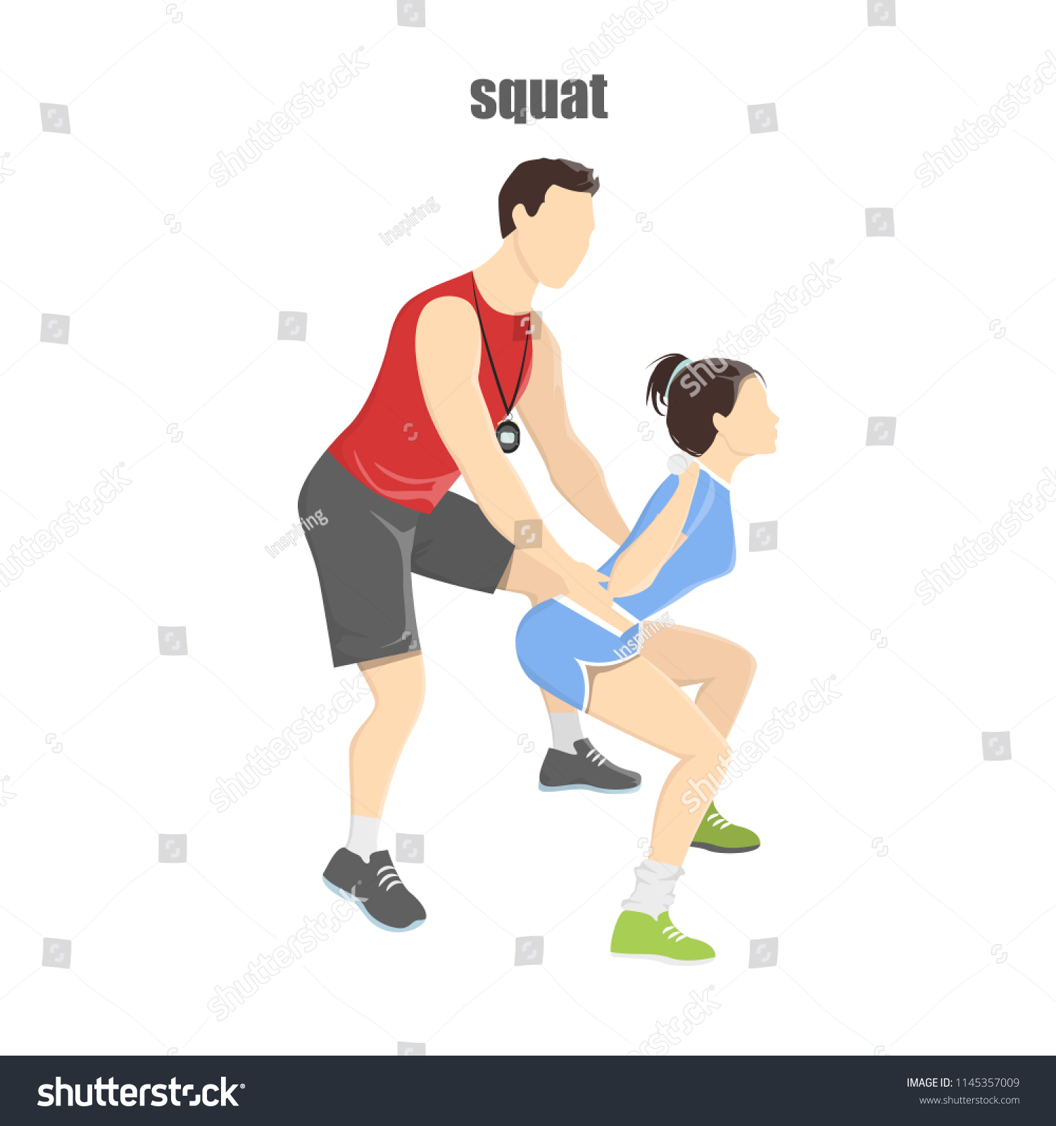 Woman Making Squats Barbell Fitness Trainer Stock Vector (Royalty