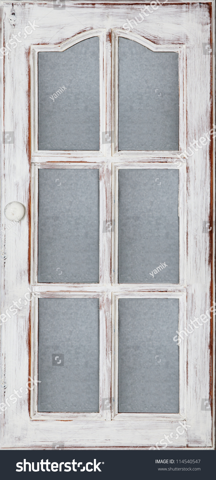 An old wood door panel with glass white paint and grunge for Wood doors painted white