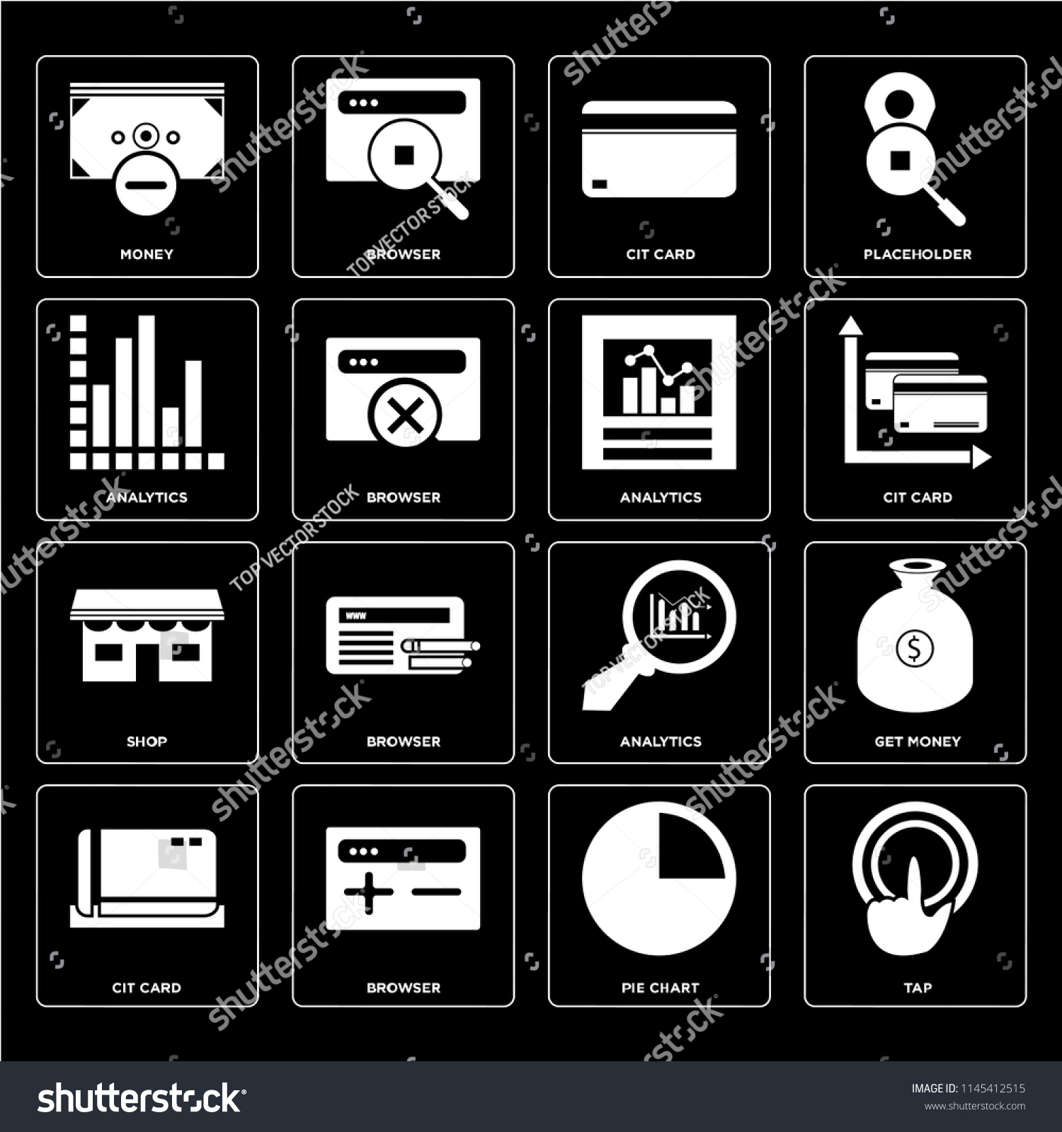 Set 16 Icons Such Tap Pie Stock Vector (Royalty Free