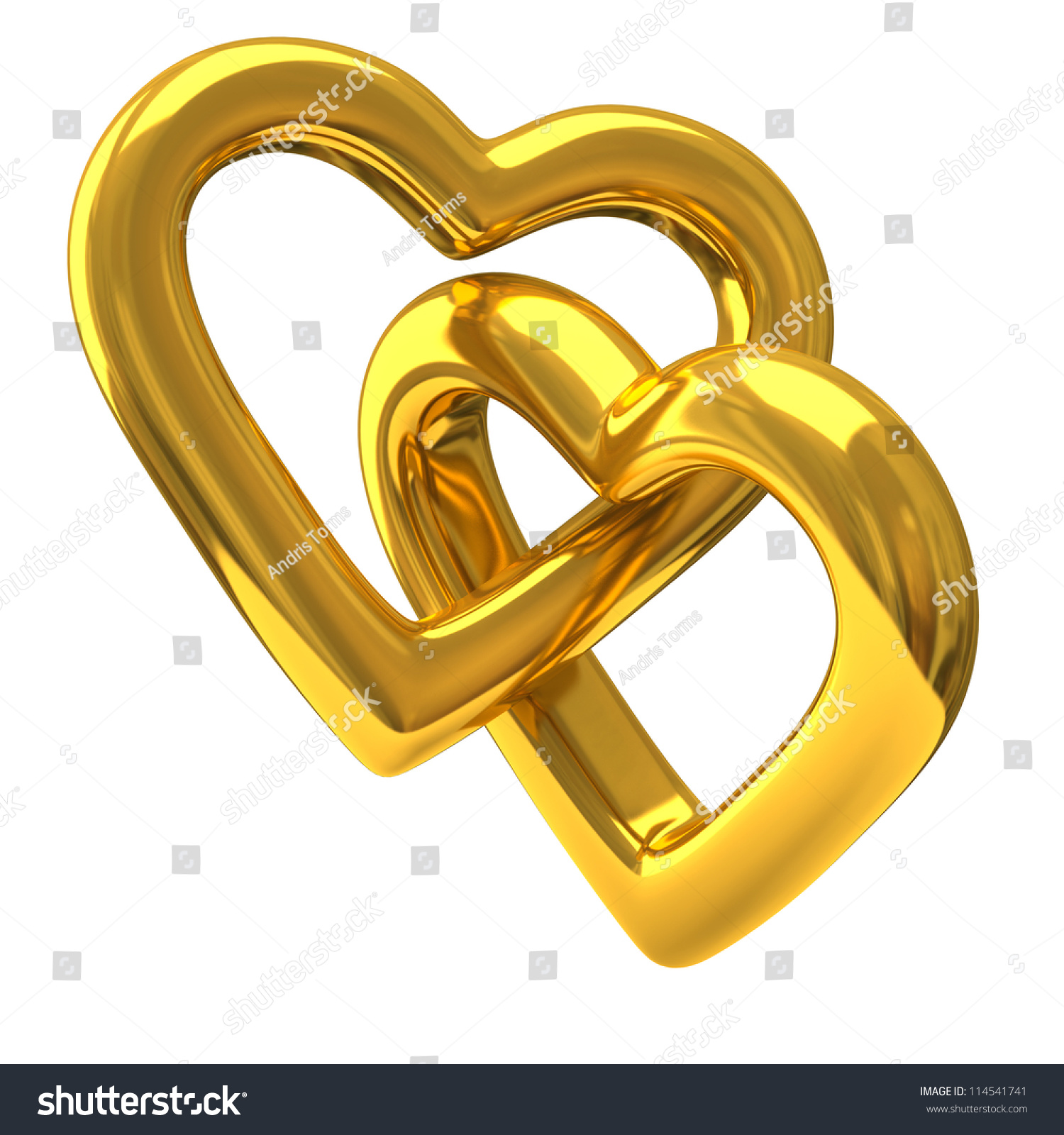 Two Heart Shaped Rings Together 3d Stock Illustration 114541741 ...