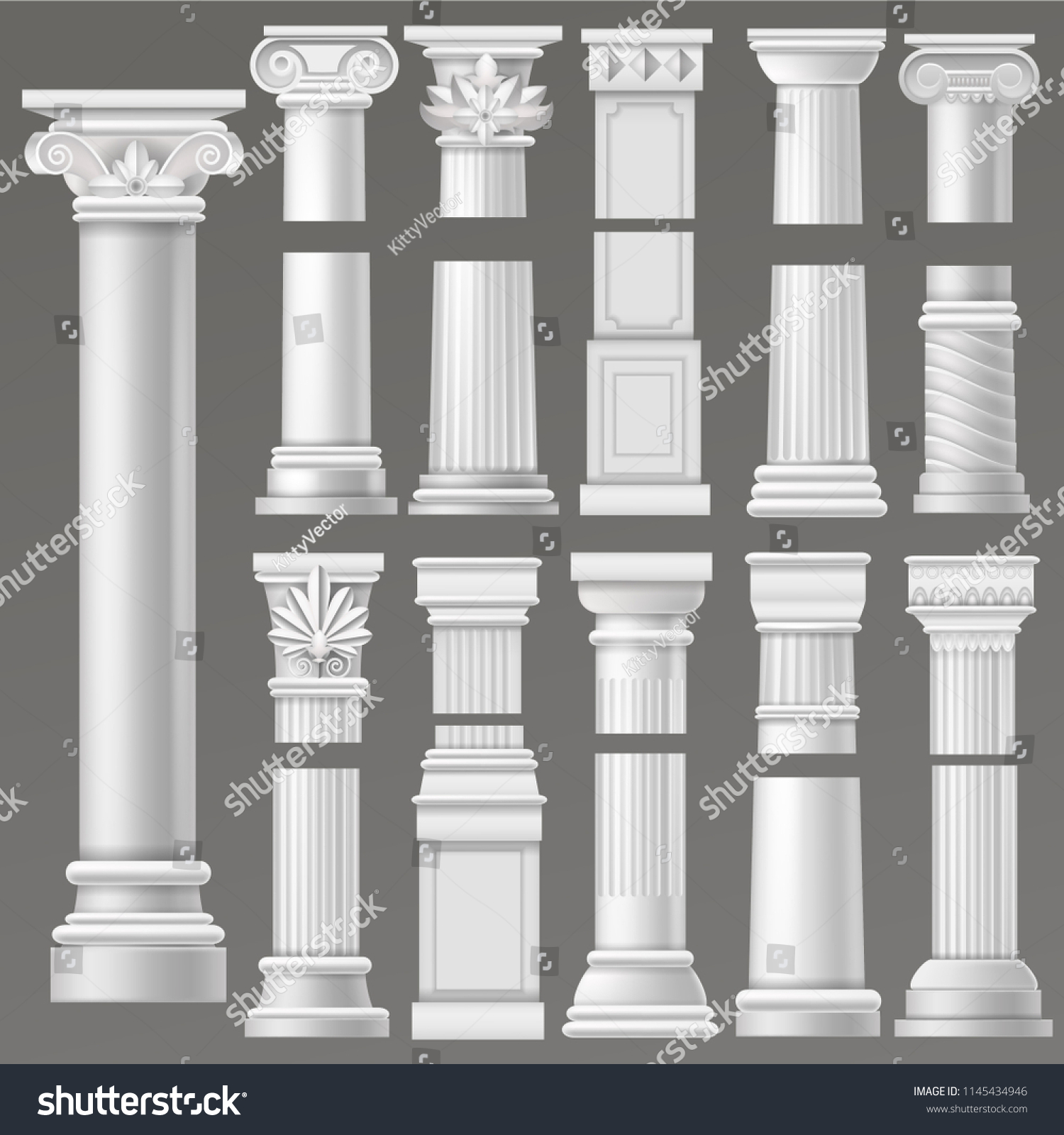 Ancient column vector historical antique column or classic pillar of historic roman architecture illustration ancientry architectural set of rome or greek culture isolated on background