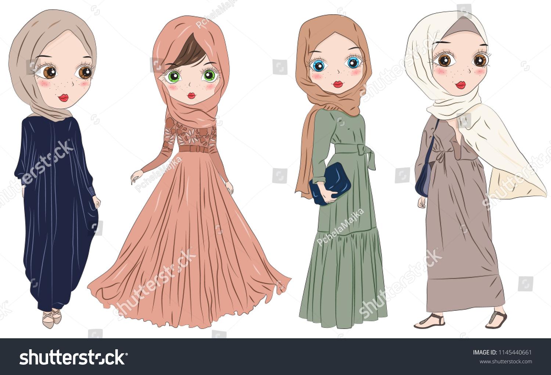 Set Hand Drawn Arabic Woman Hijab Stock Vector Royalty Free 1145440661