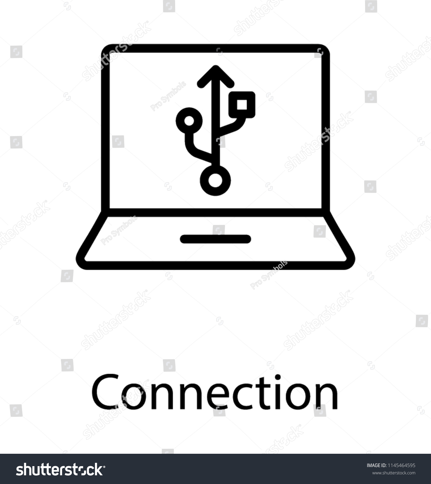Universal Serial Bus Symbol On Laptop Stock Vector Royalty Free