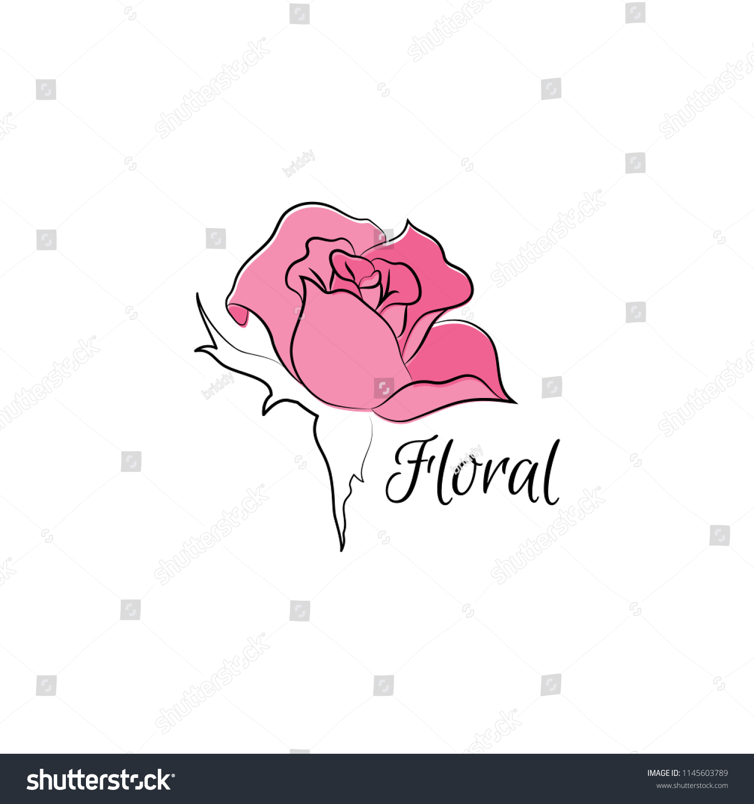 Pink rose logo vector flower symbol stock vector royalty free vector flower symbol for flower shops and beauty salon izmirmasajfo