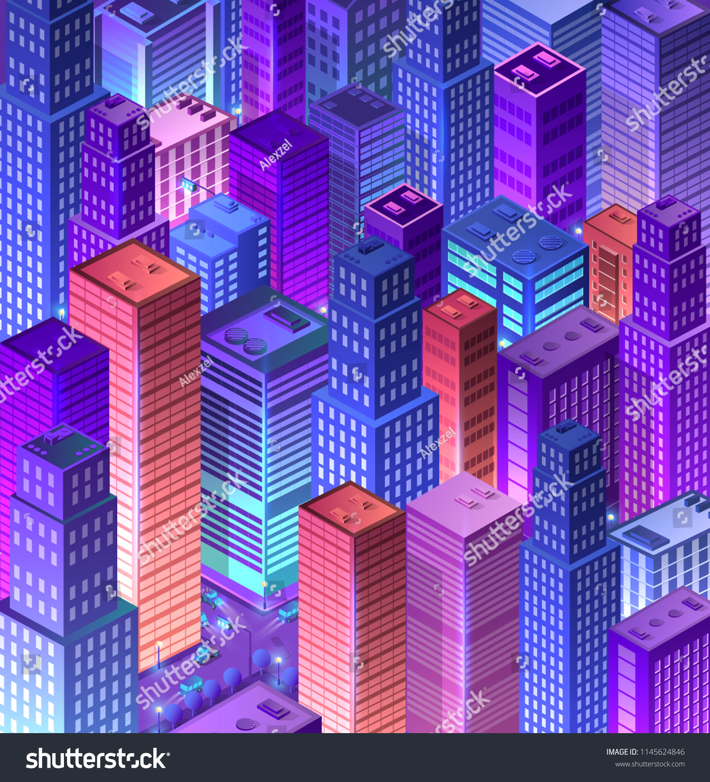Cityscape 3 D Ultraviolet Architecture City Isometric Stock Vector Diagram Of A Network In Multistory Building 3d From Urban Street Skyscraper Concept Business Violet