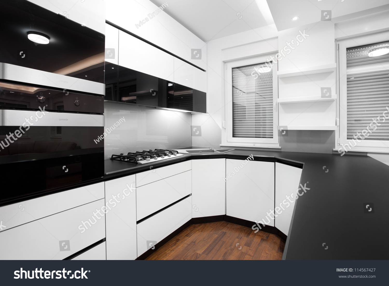 Black And White Modern Kitchen New Modern Kitchen In Black And White Colors Stock Photo 114567427